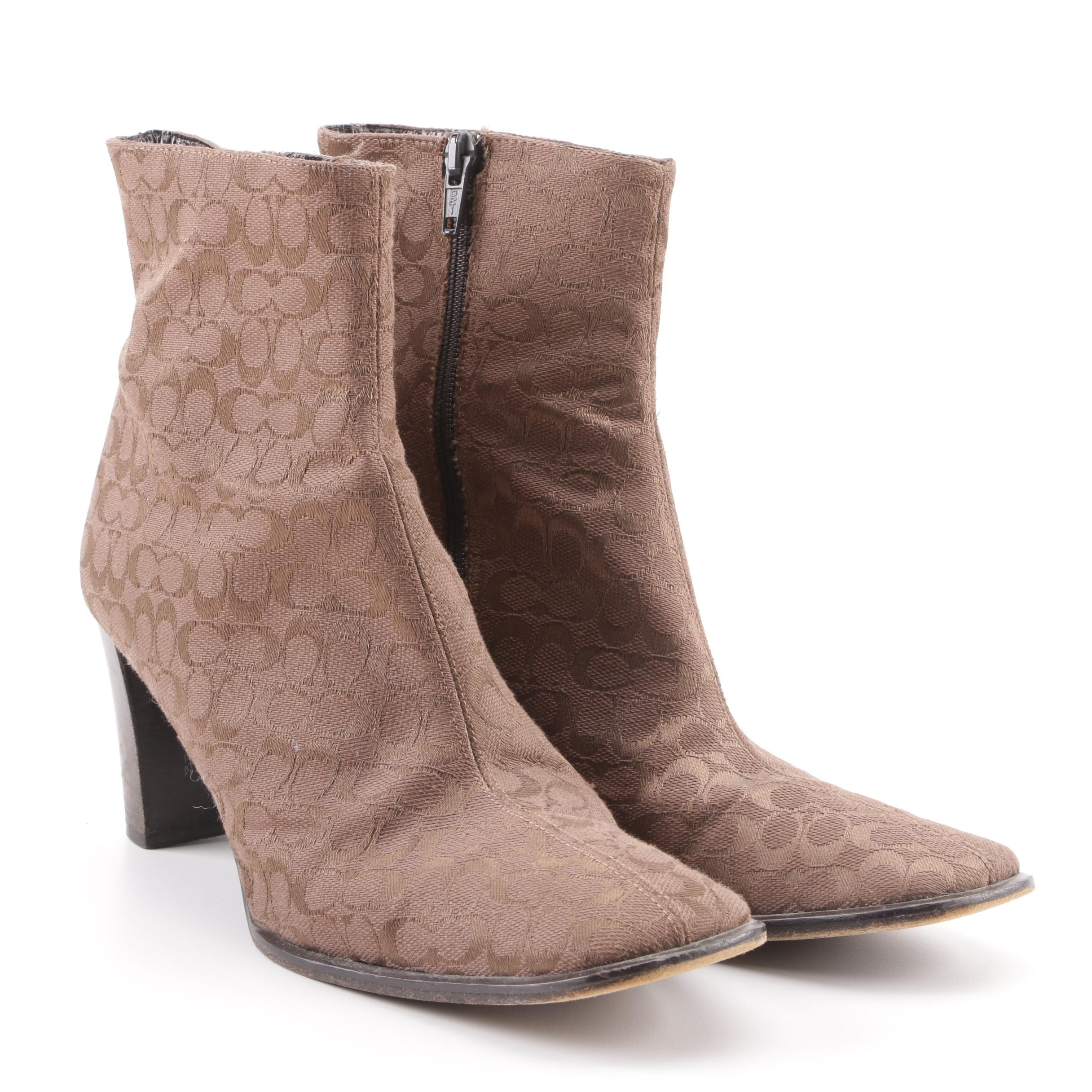 Women's Coach Brianna Light Brown Signature Canvas Ankle Boots