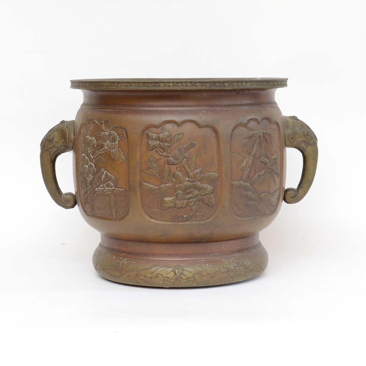 Japanese Brass Pot with Raised Relief Scenes