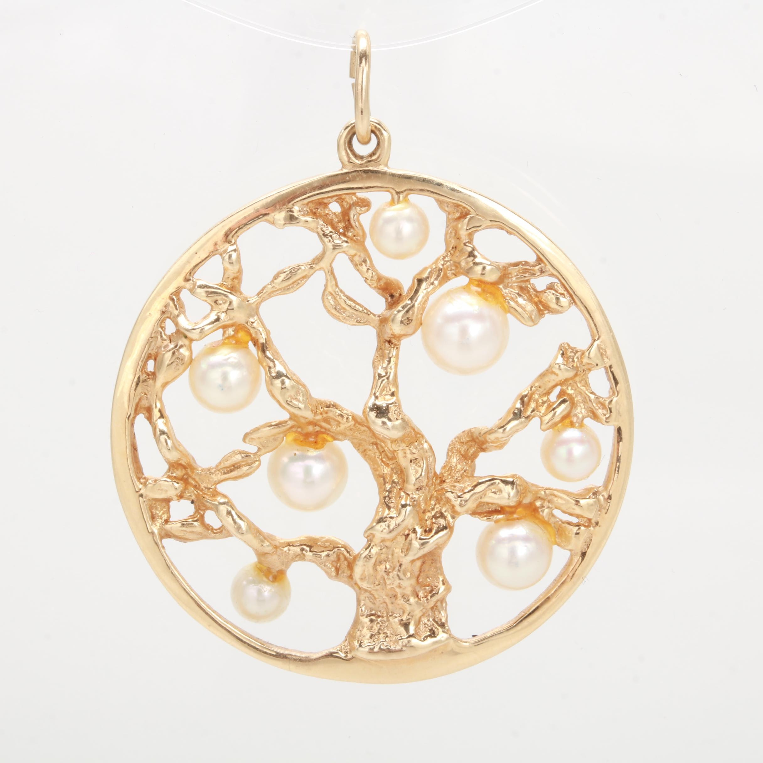 "14K Yellow Gold Cultured Pearl ""Tree of Life"" Pendant"