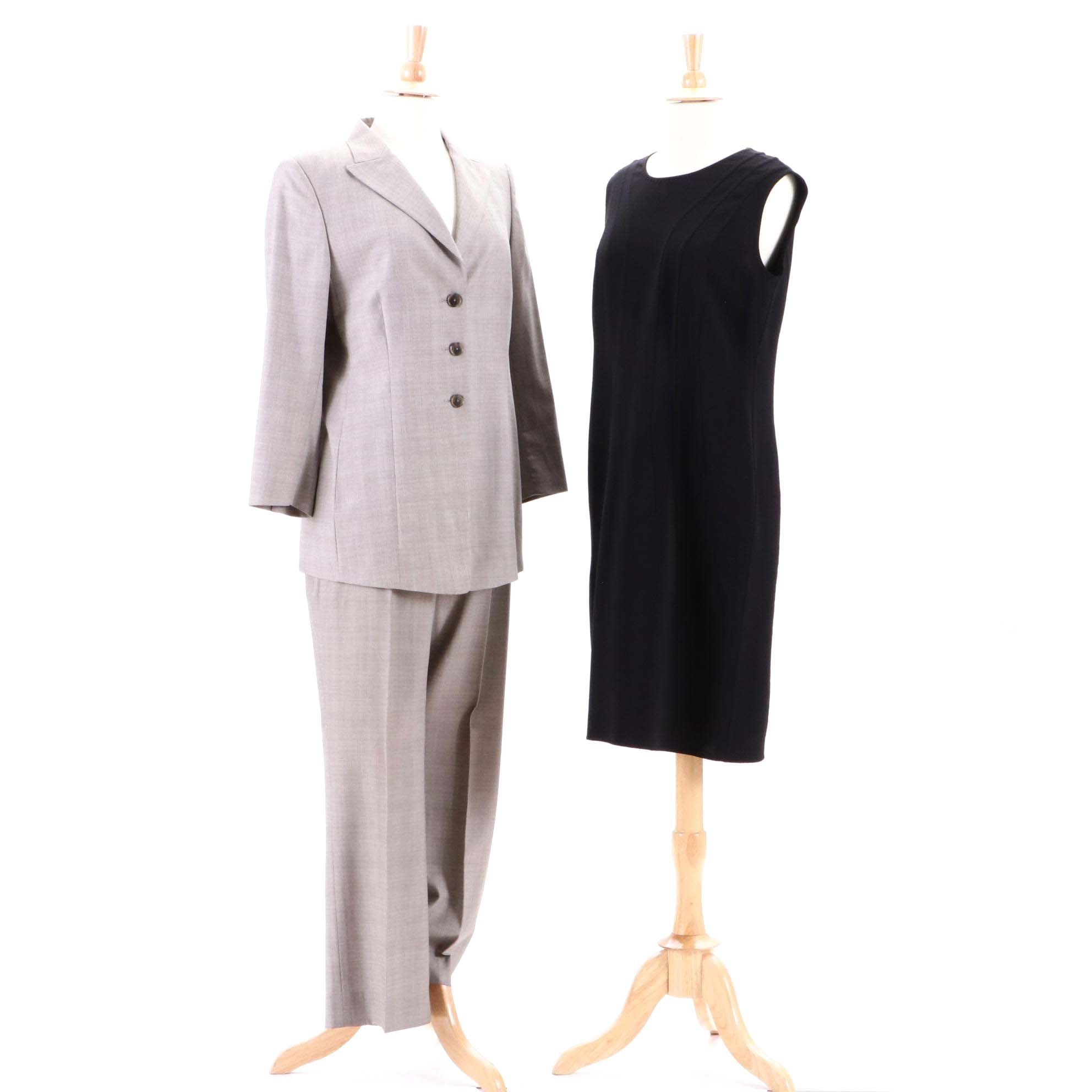 Agnona Wool Blend Sleeveless Black Dress and AKRIS Bergdorf Goodman Pantsuit