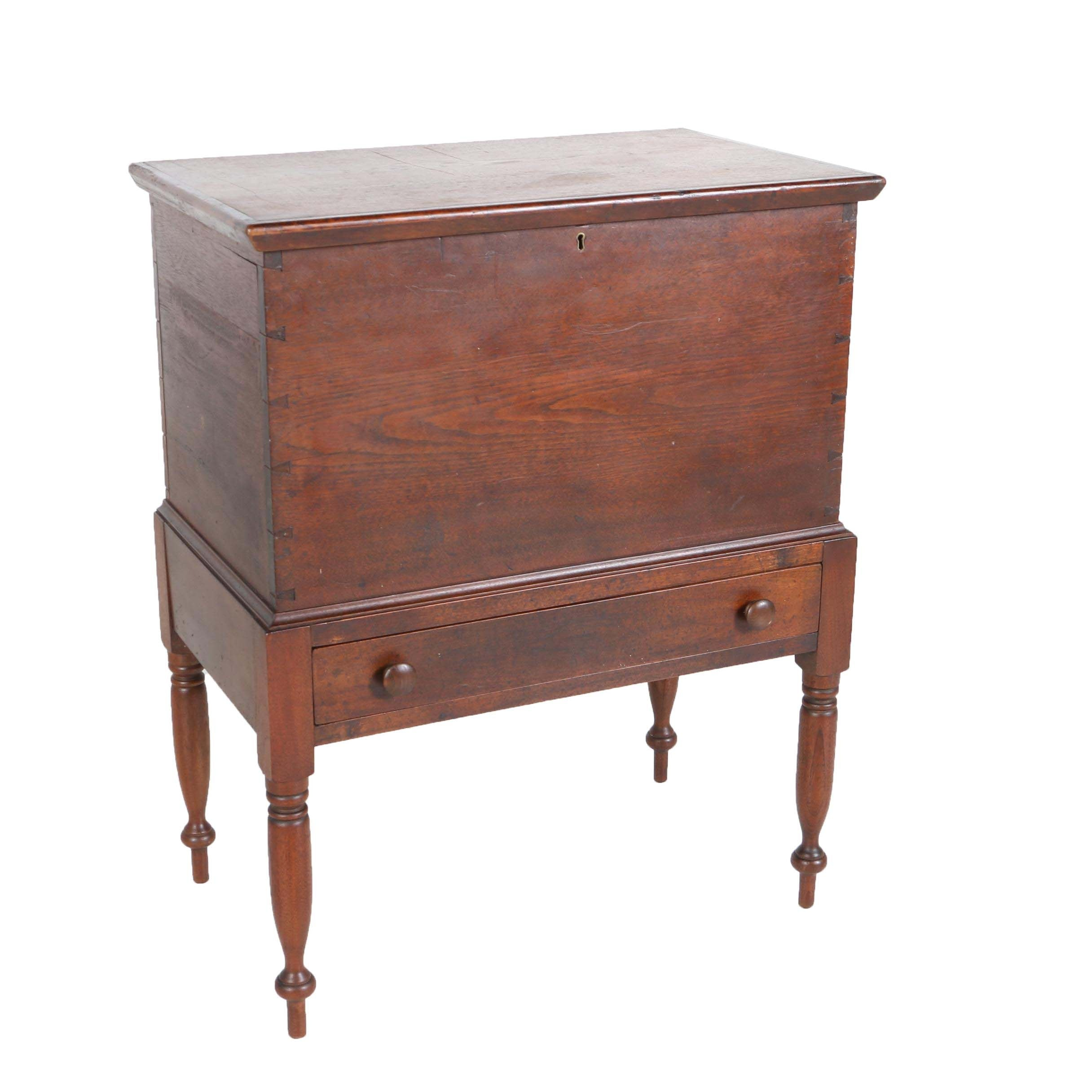 Southern Late Federal Walnut Sugar Chest-on-Frame, Circa 1820-1840 and Later
