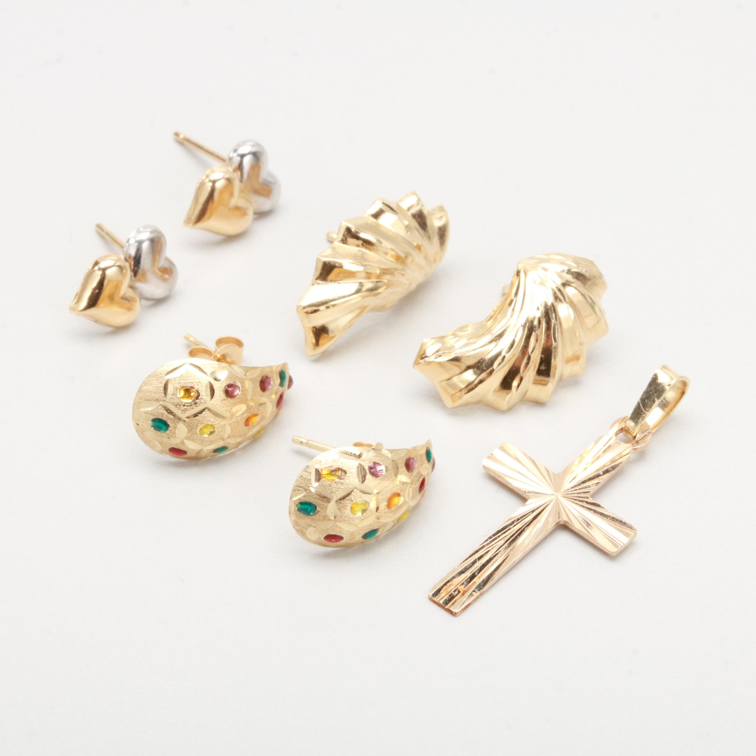 14K Yellow Gold and Enamel Earrings With 10K Yellow Gold Cross Pendant