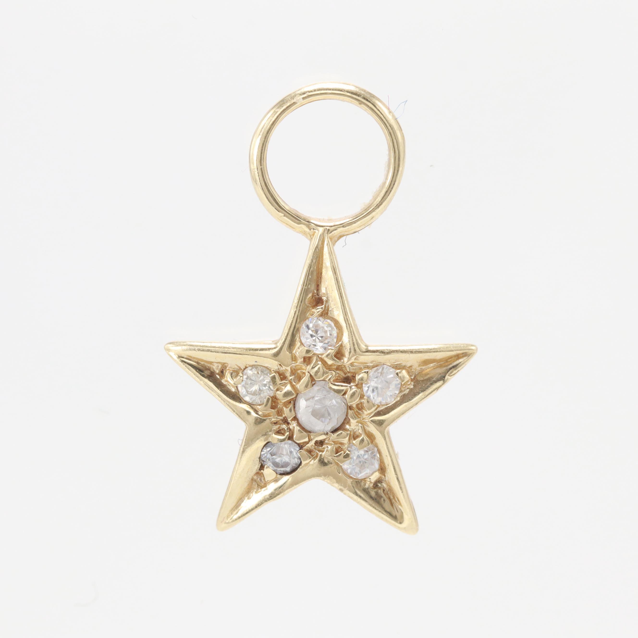 14K Yellow Gold Cubic Zirconia Star Pendant