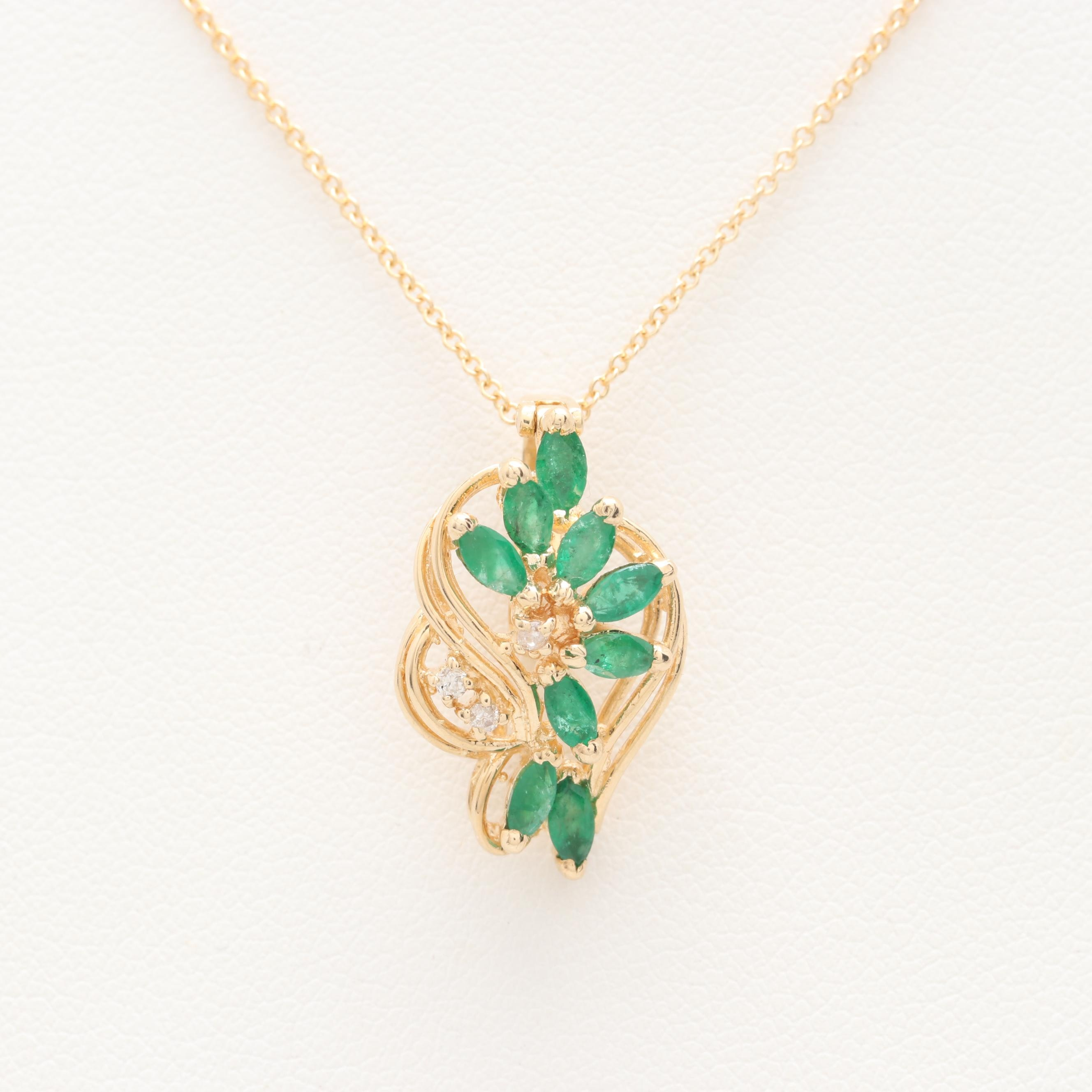 14K Yellow Gold Emerald and Diamond Pendant with Herco Chain Necklace