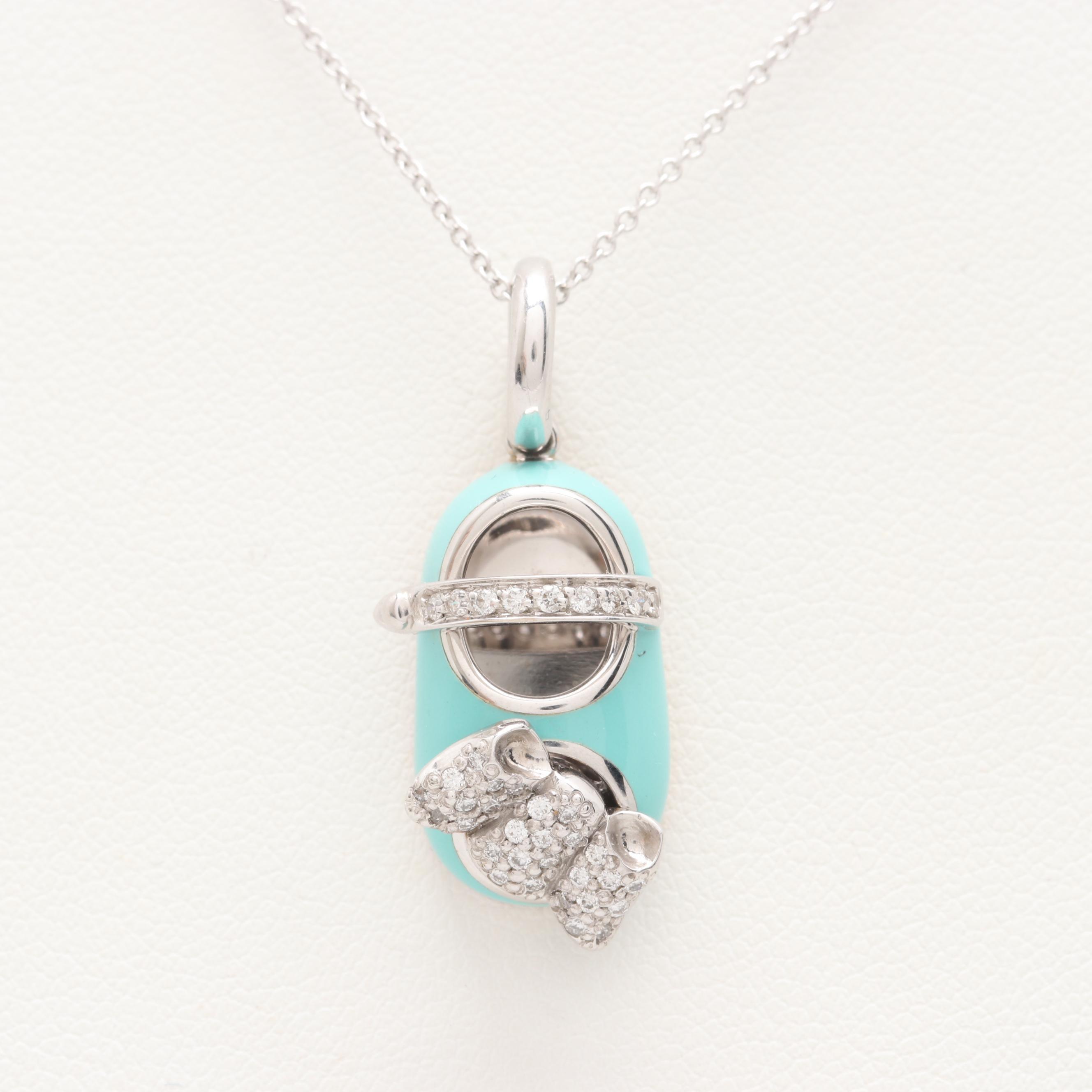 Aaron Basha 18K White Gold Diamond Pendant on Herco Chain Necklace