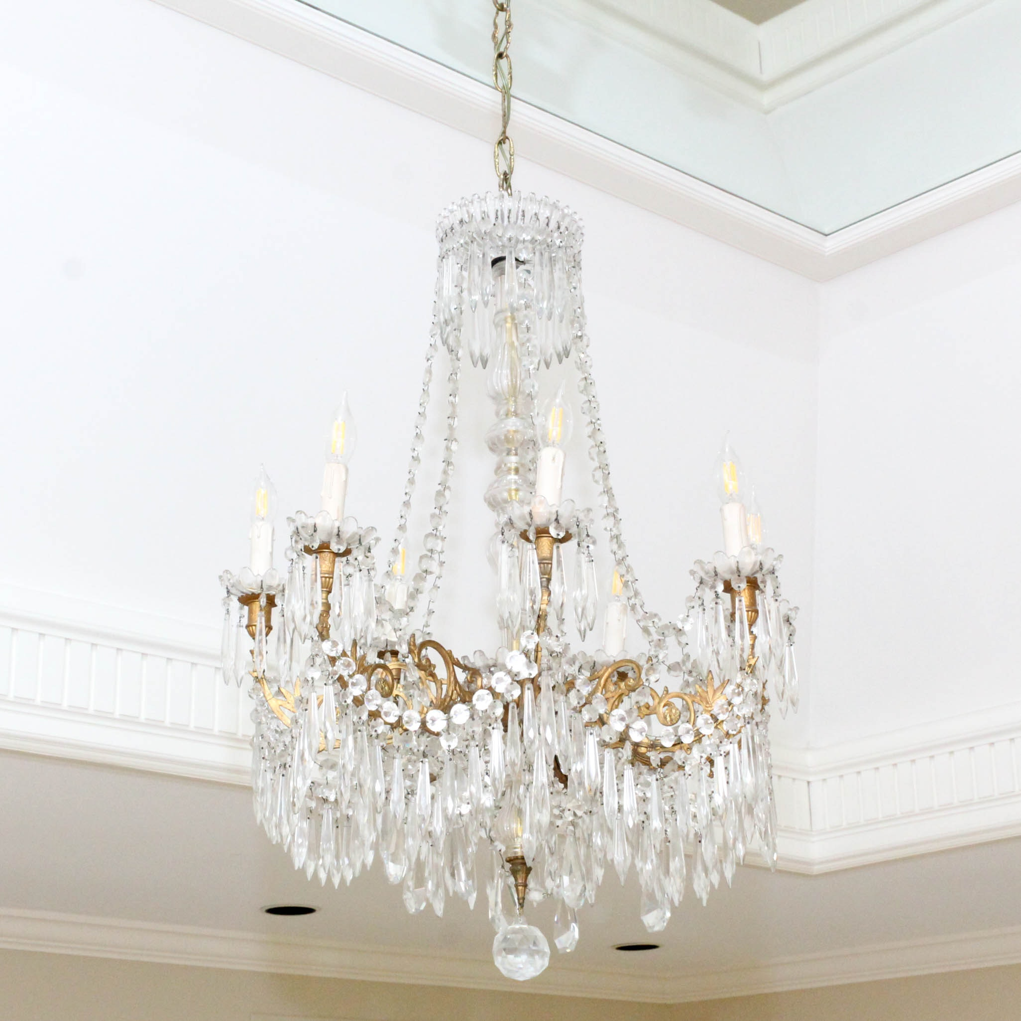 French Crystal Chandelier, Early 20th Century