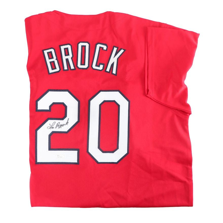 60e40e6fcff5 Louis White Baseball Jersey JSA COA Auto Baseball-MLB Autographed/Signed  LOU BROCK St