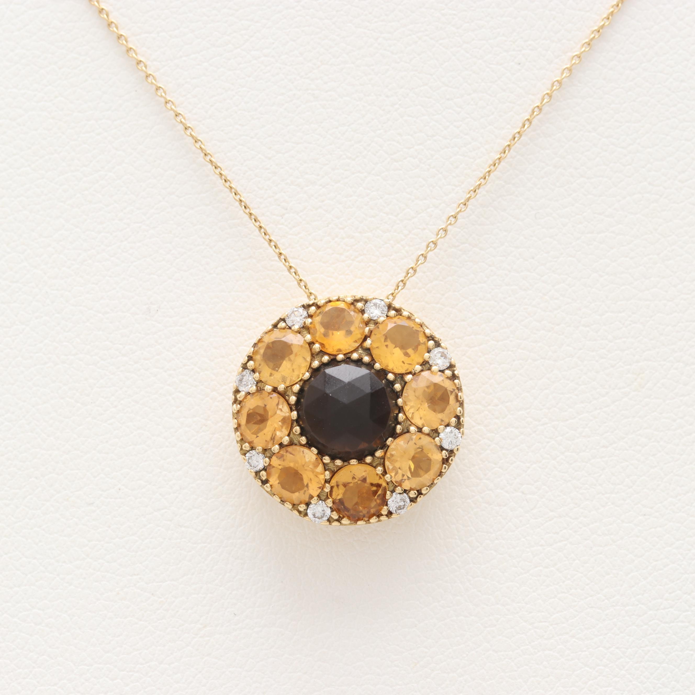 18K Yellow Gold Smoky Quartz, Citrine and Diamond Necklace