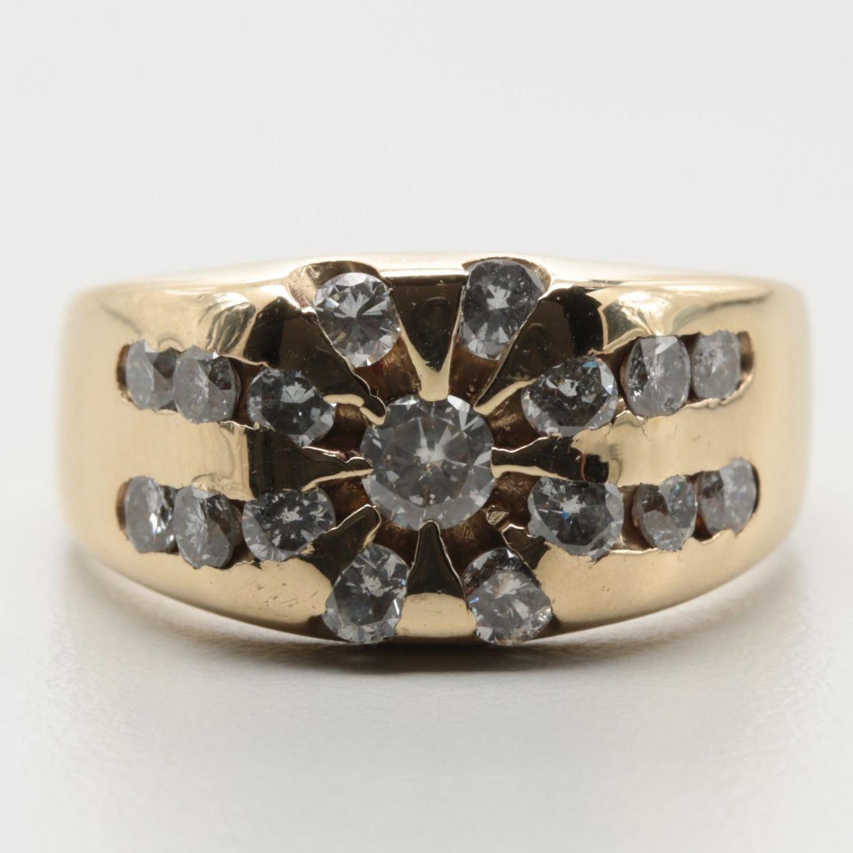 14K Yellow Gold 1.07 CTW Diamond Ring