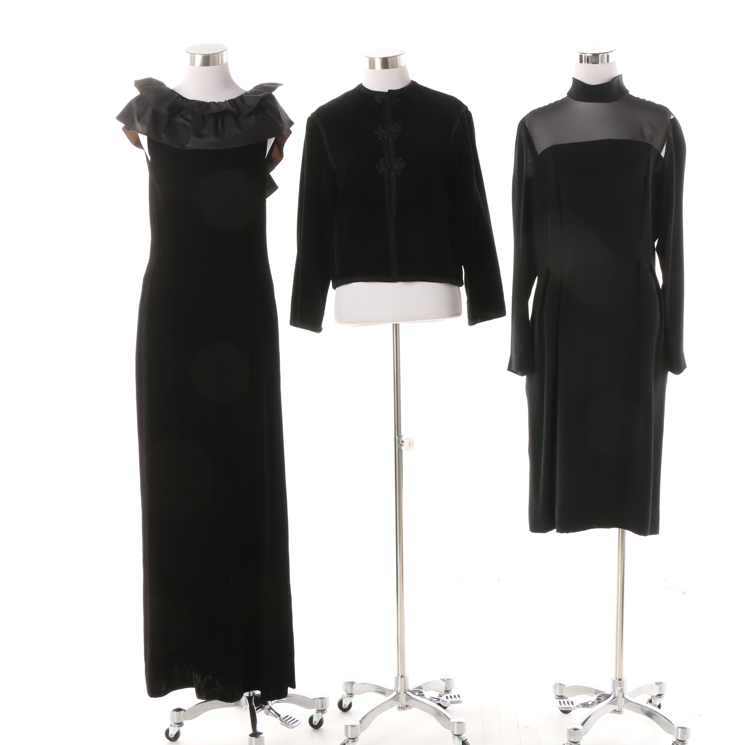 Women's Black Evening Dresses and Jacket Including Nipon Boutique and A.J. Bari