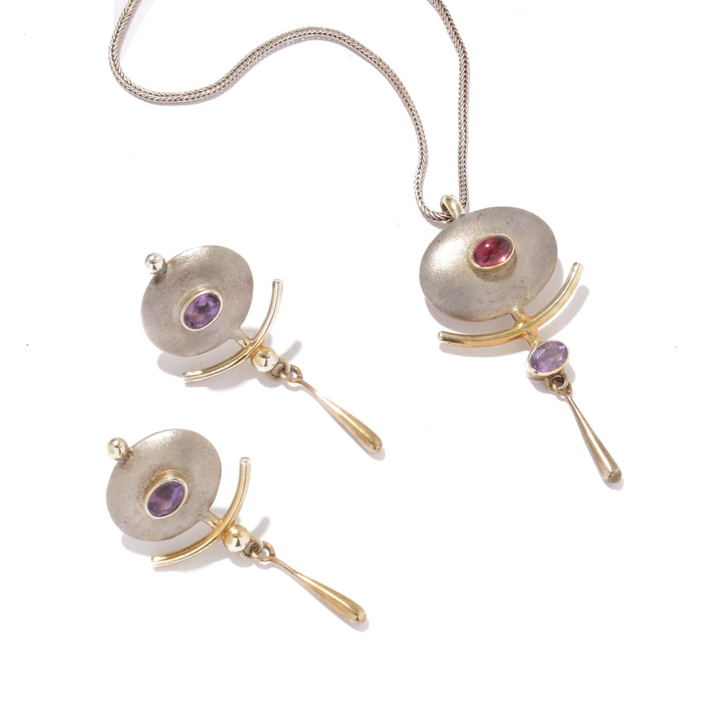 Sterling Silver Amethyst and Pink Tourmaline Necklace and Earrings