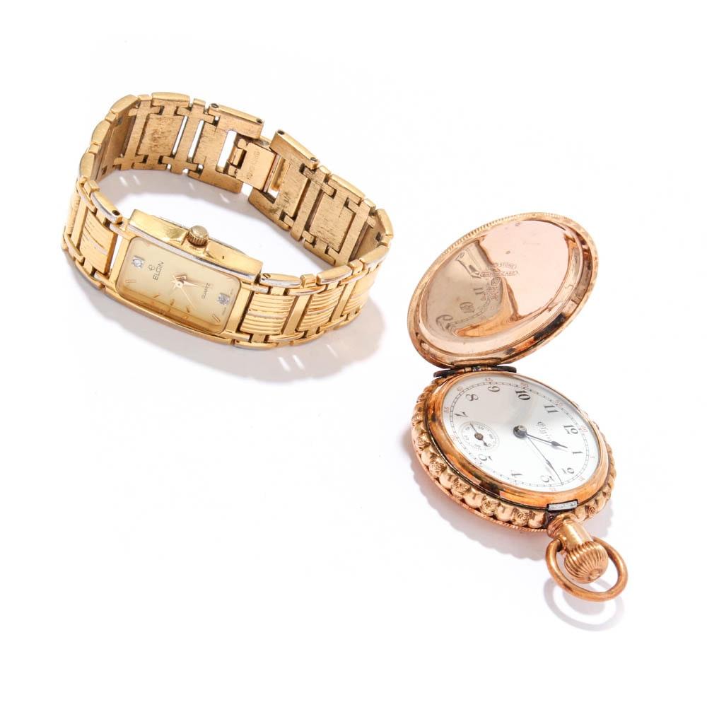 Elgin Pocket Watch and Wristwatch
