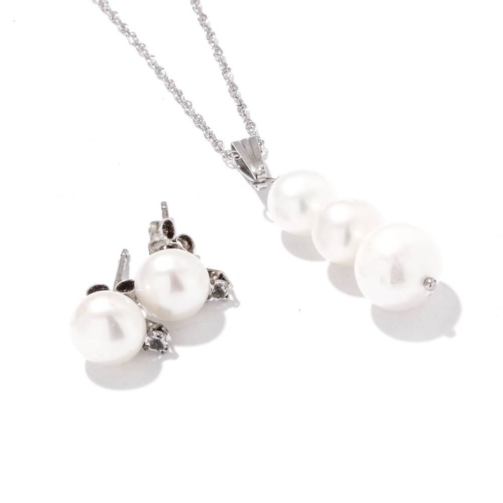 Sterling Silver Cultured Freshwater Pearl Necklace and Earrings