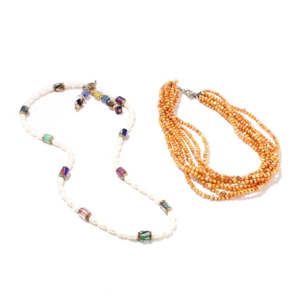 Dyed Cultured Freshwater Pearl Necklaces