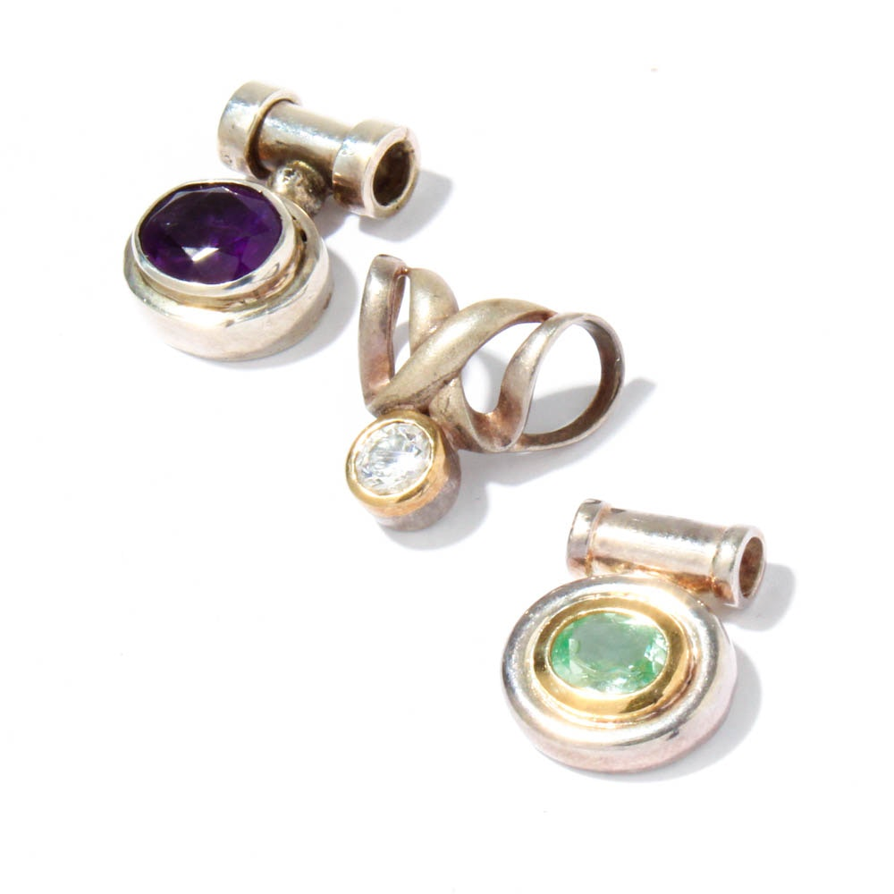 Sterling Silver 14K Yellow Gold Amethyst, Praseolite and Cubic Zirconia Pendants
