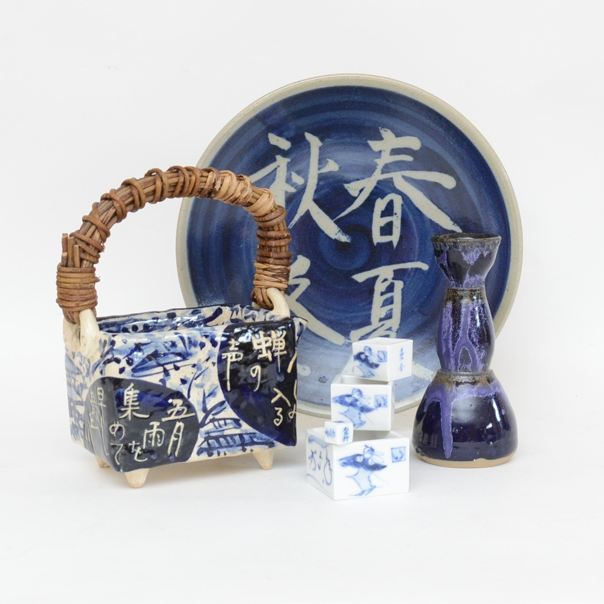 Japanese Hand-Crafted Ceramic Teapot, Plate, and More