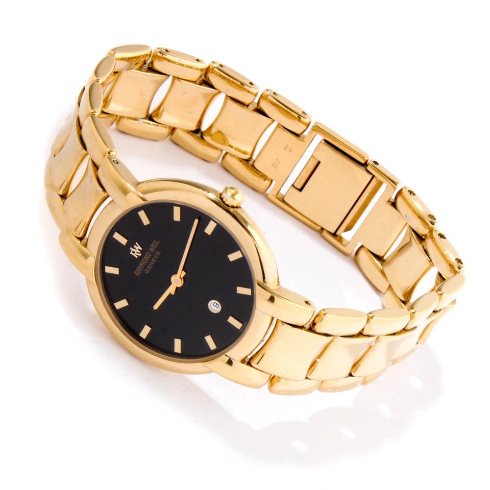 "Raymond Weil ""Othello"" 18K Yellow Gold Electroplate Wristwatch"