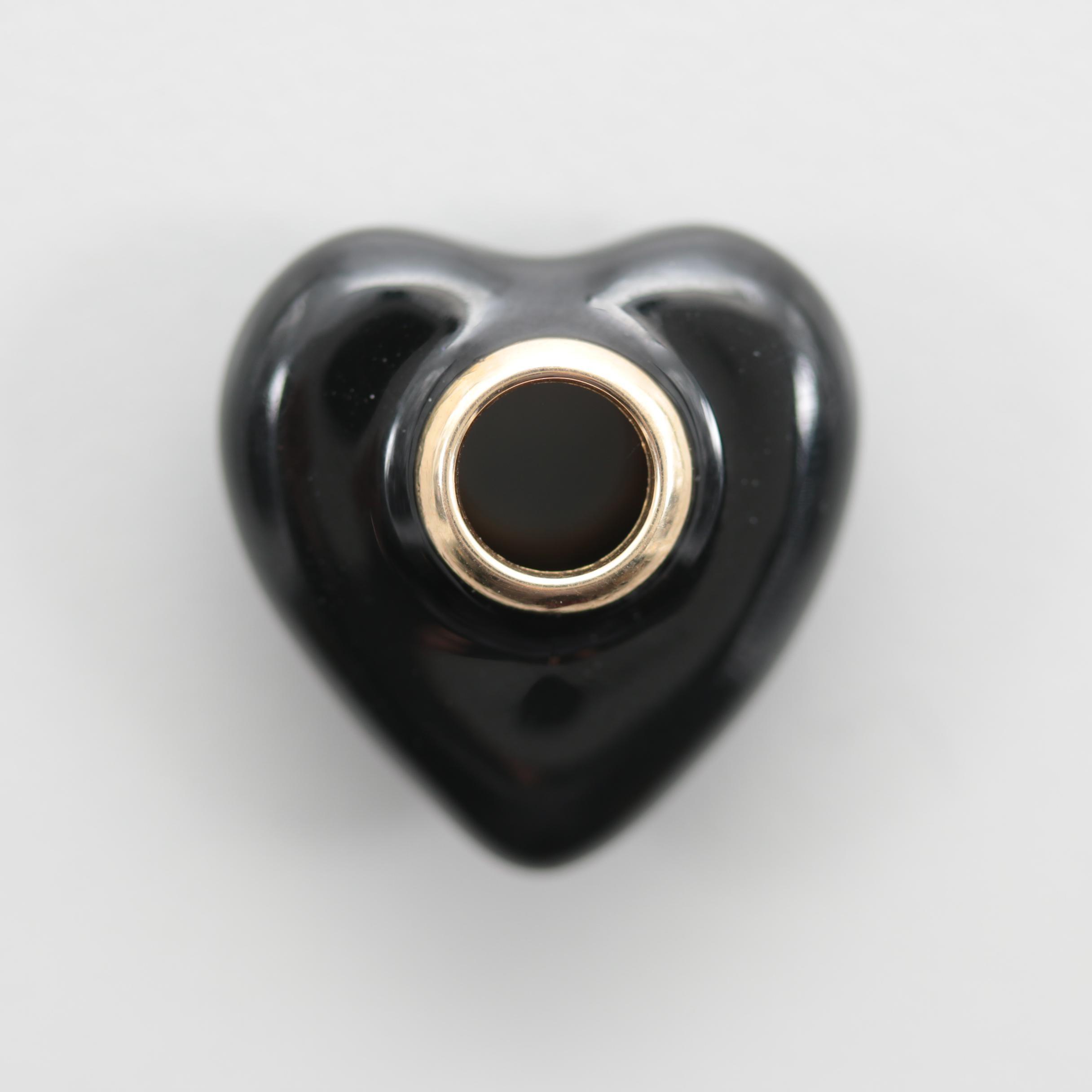 14K Yellow Gold Resin Heart Pendant