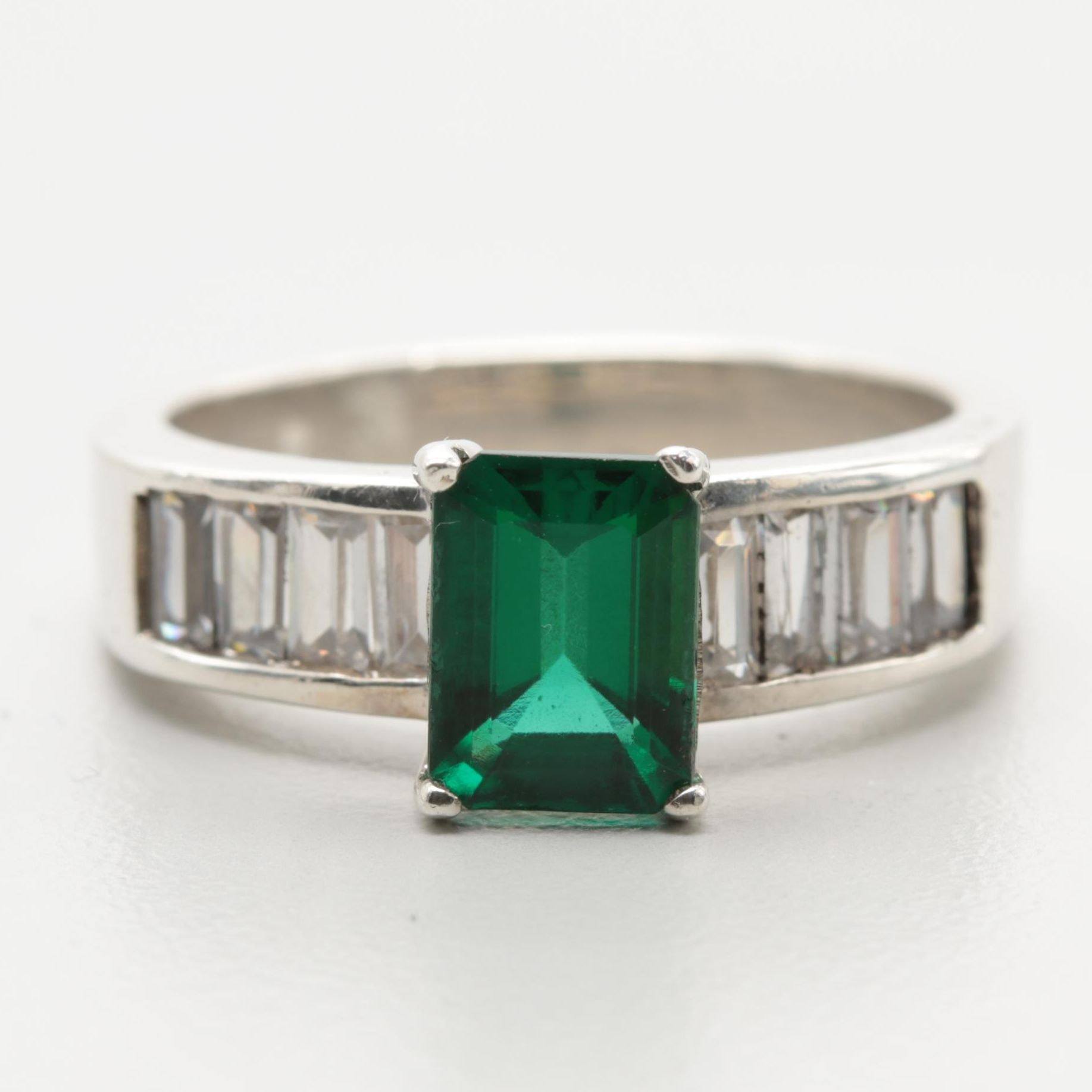 Sterling Silver Synthetic Emerald and Cubic Zirconia Ring