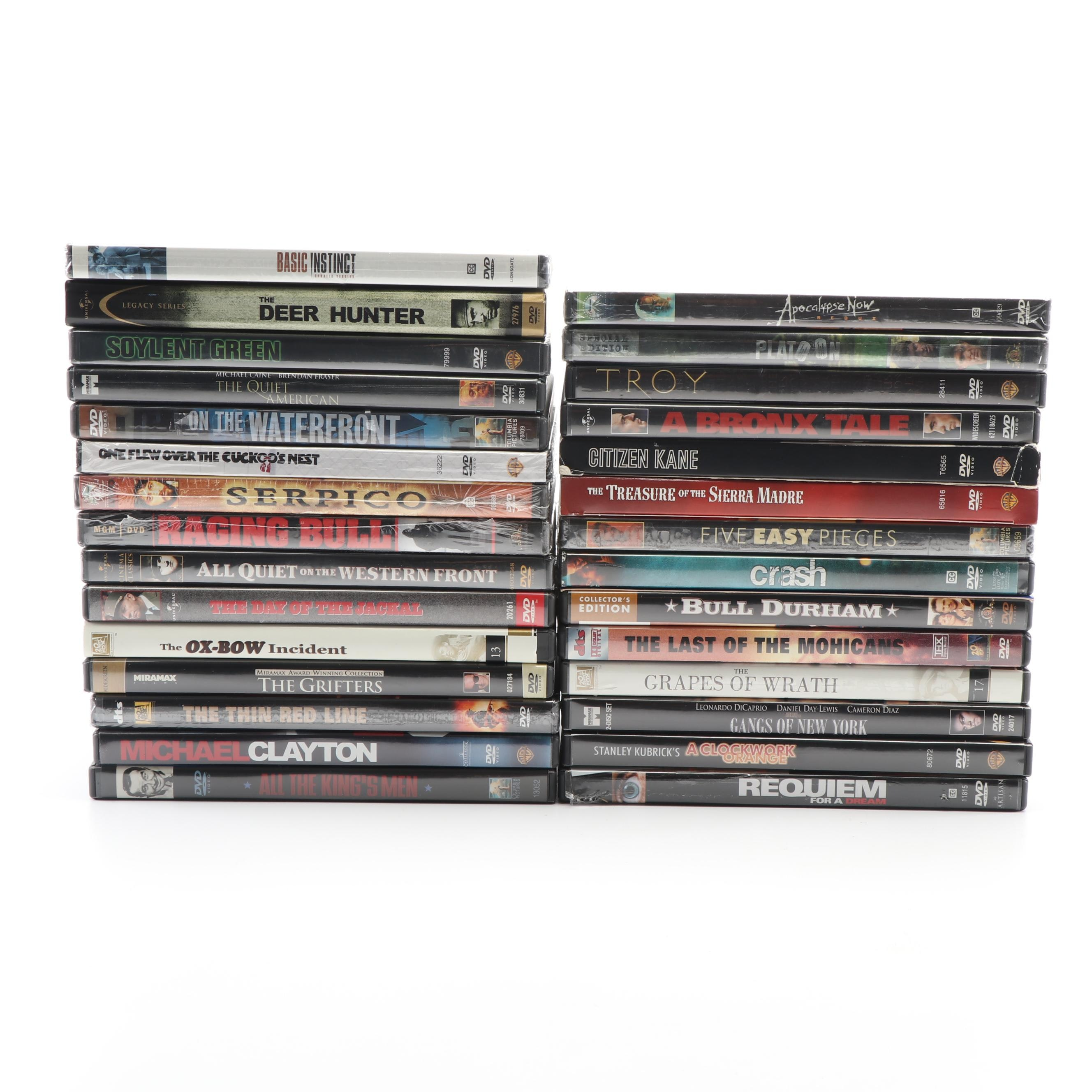 """DVD Collection including """"The Deer Hunter"""", """"The Thin Red Line"""", and """"Platoon"""""""