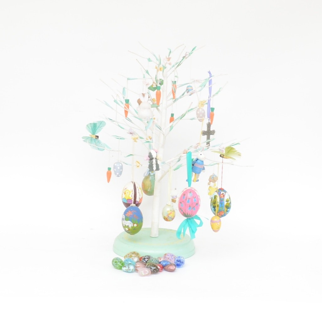 Easter Egg Tree with Ornaments and Glass Hearts