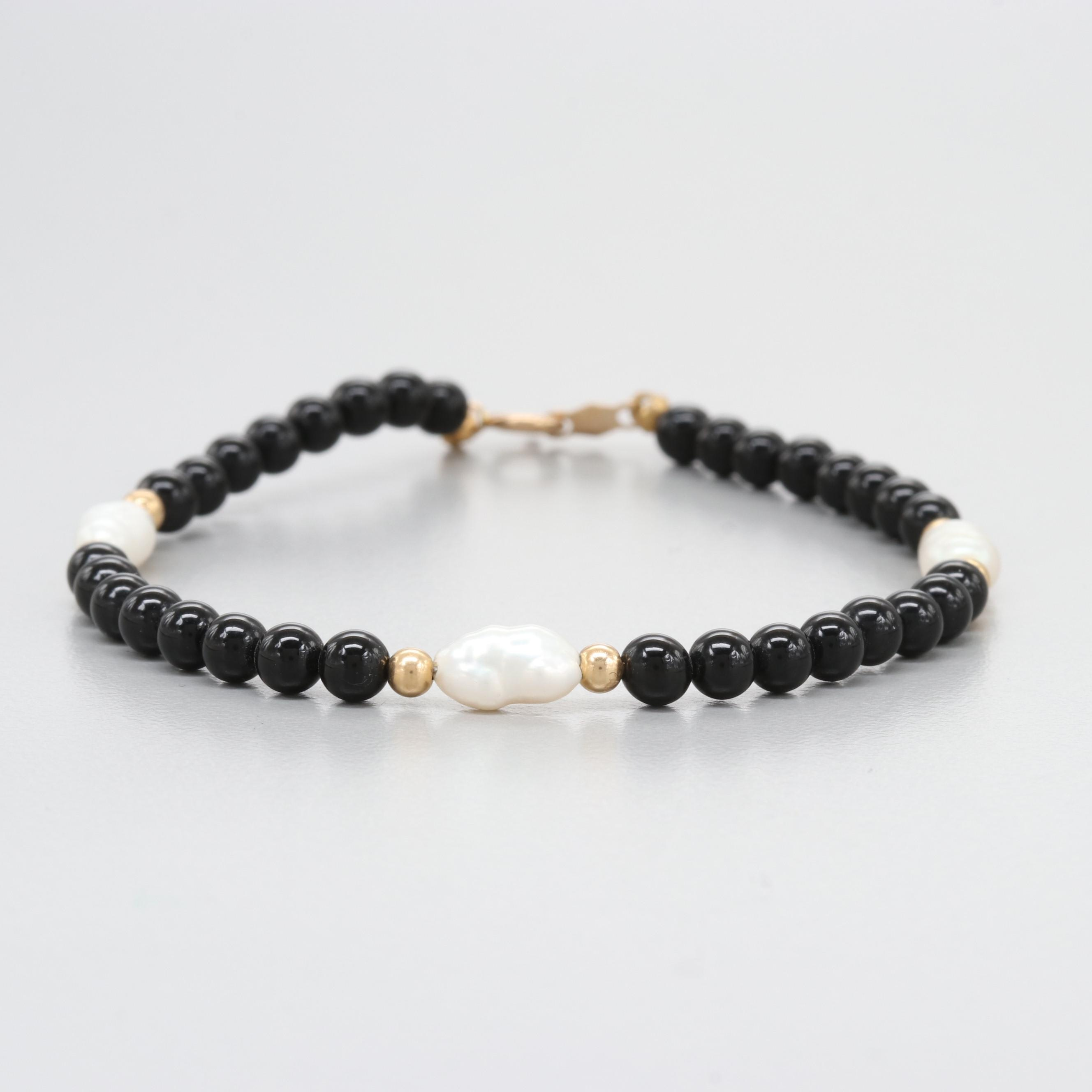 14K Yellow Gold Black Onyx and Cultured Pearl Bracelet