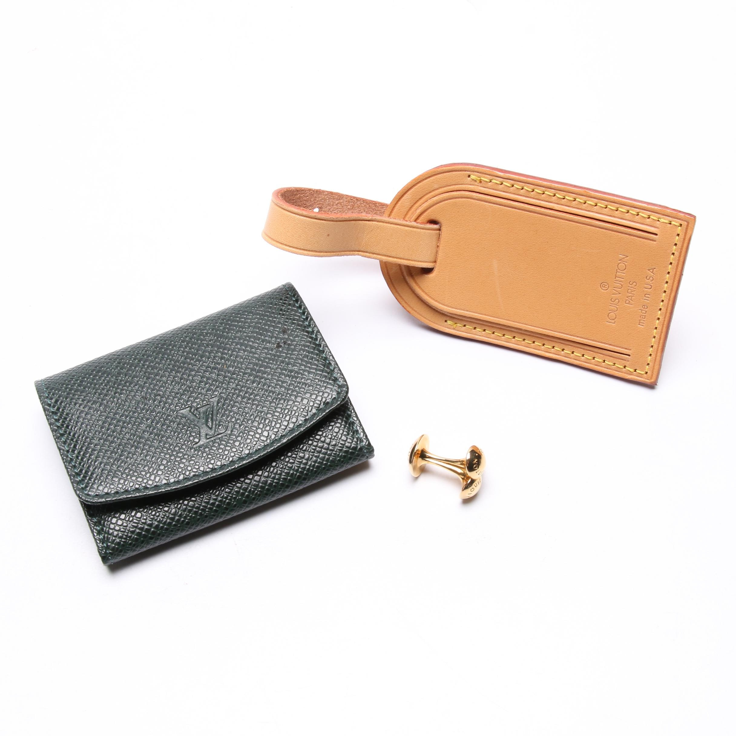 Louis Vuitton Vachetta Leather Hangtag and Green Taiga Leather Cufflink Case