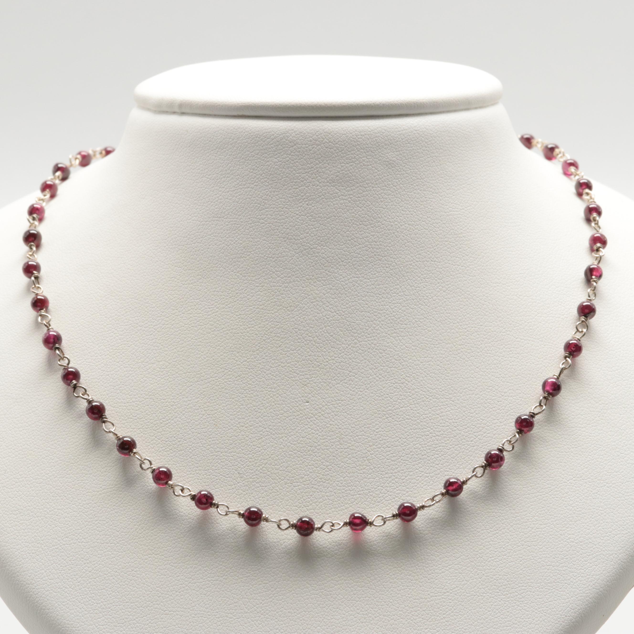Sterling Silver Rhodolite Garnet Bead Necklace