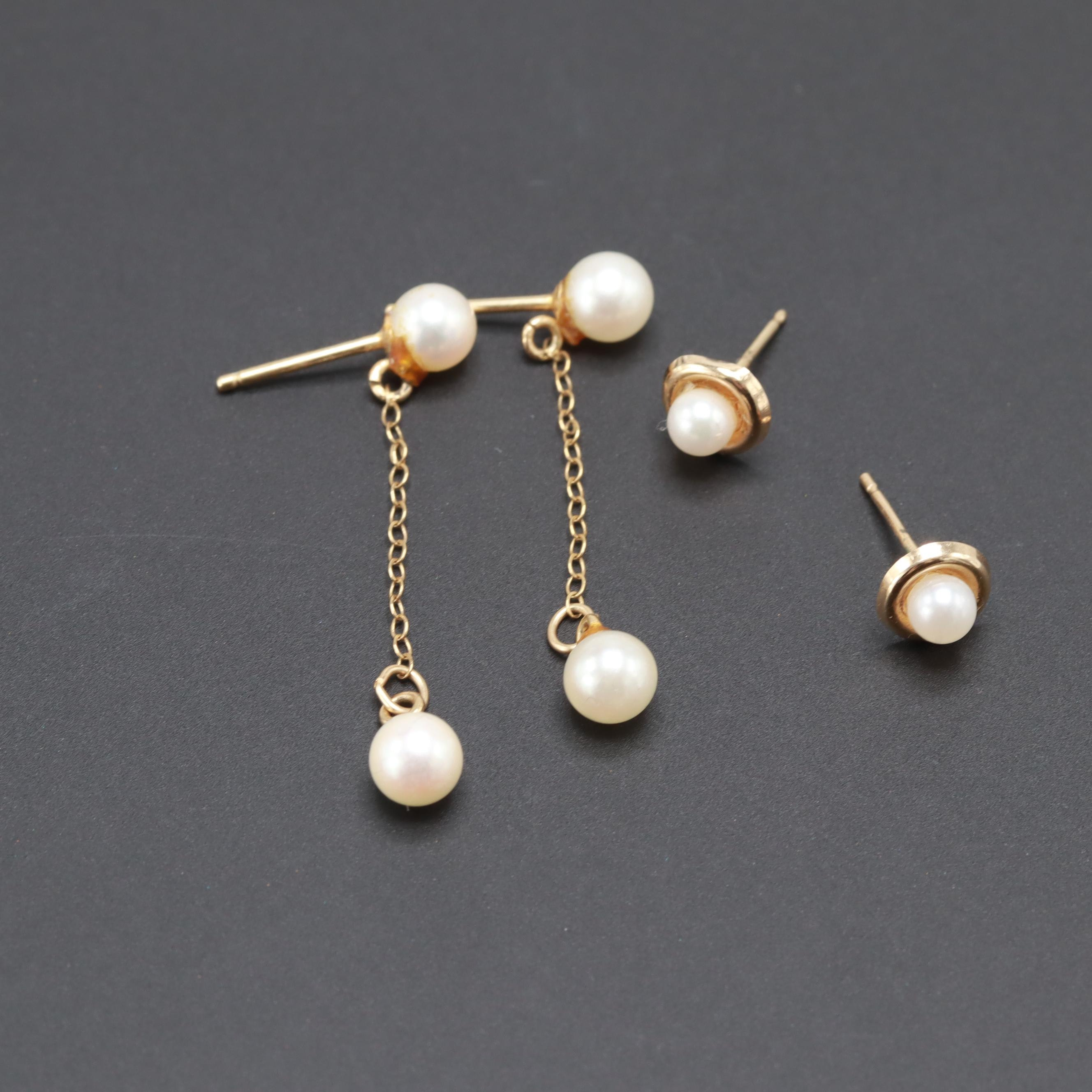 14K Yellow Gold Cultured Pearl Dangle and Stud Earrings