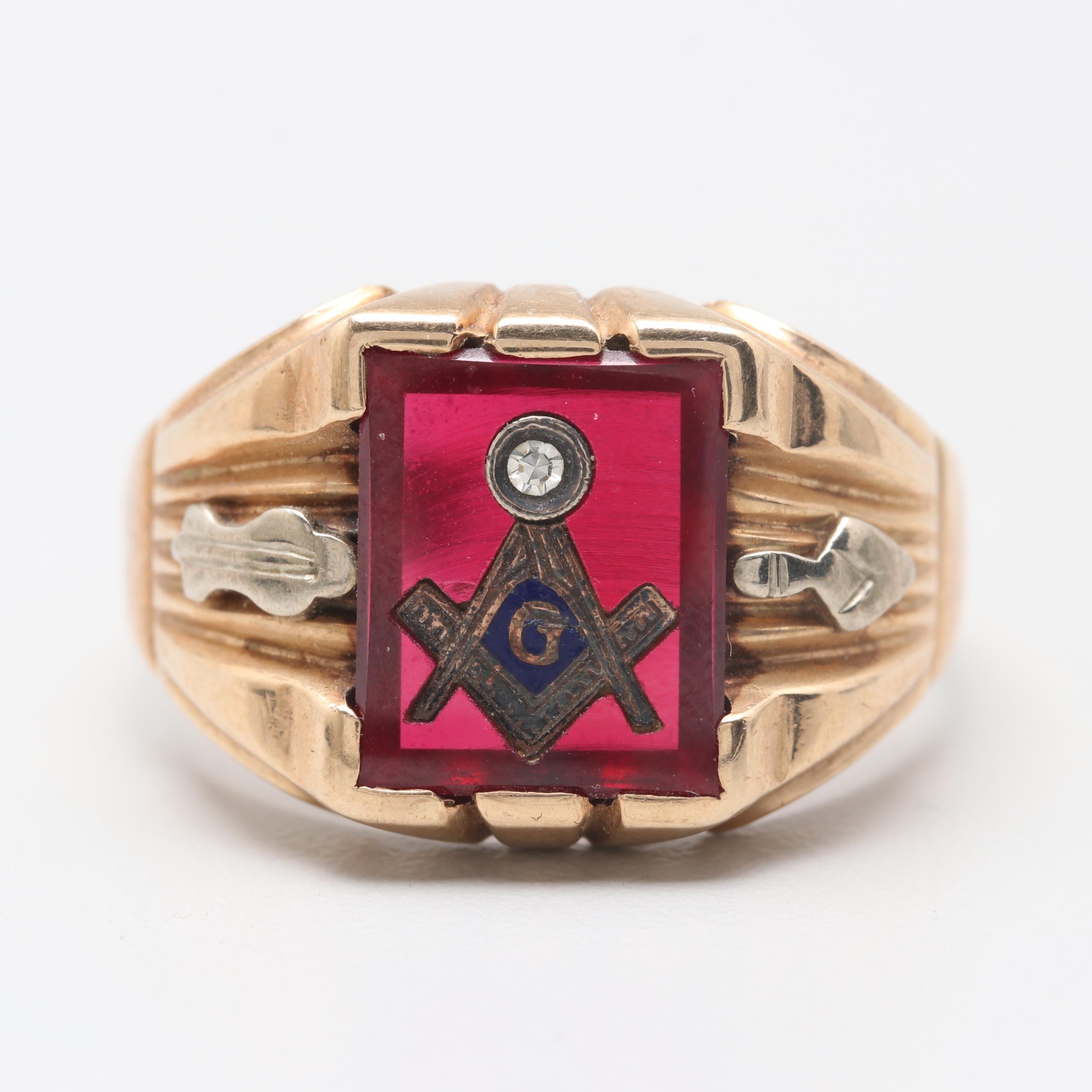 10K Yellow Gold Masonic Synthetic Ruby and Diamond Ring