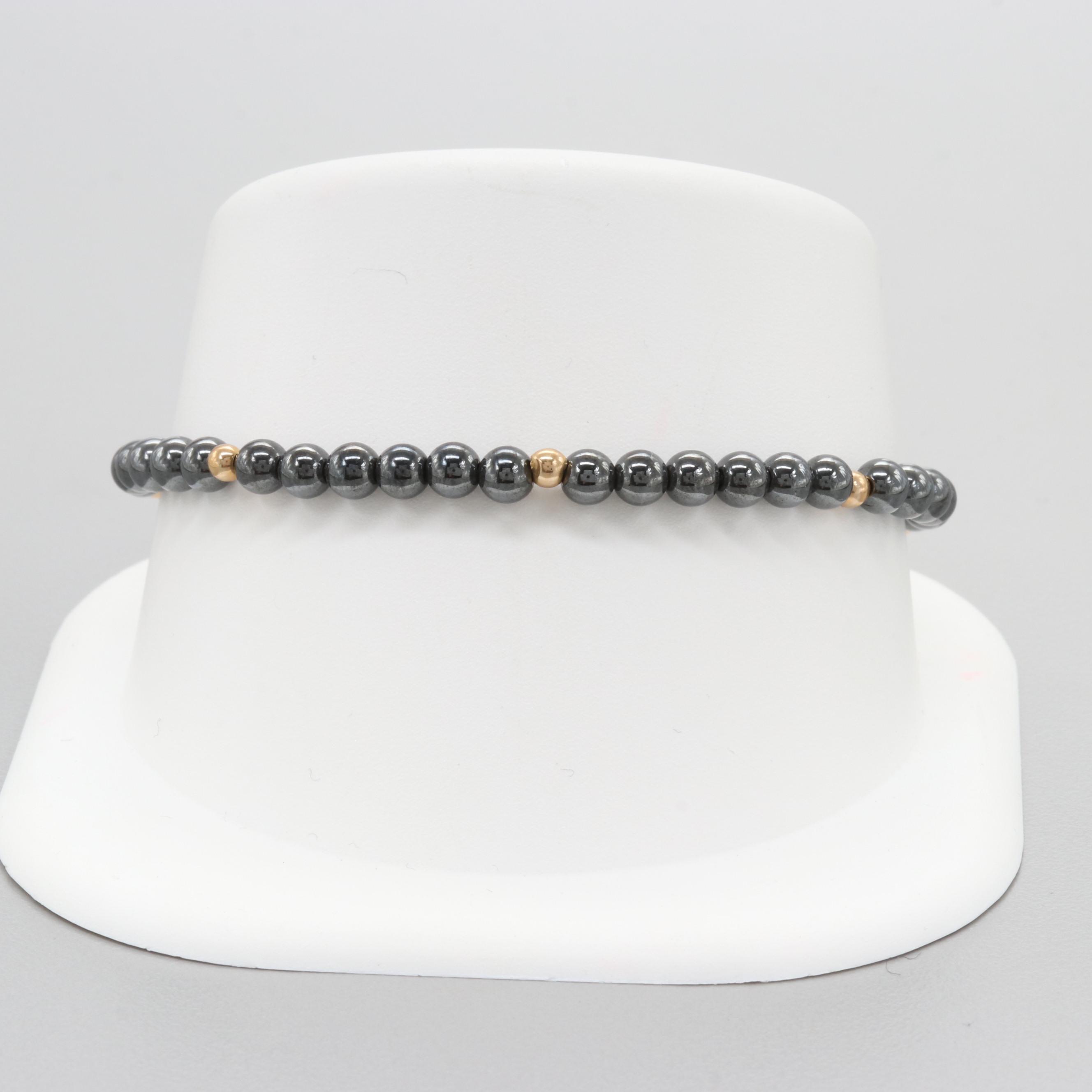 14K Yellow Gold Hematite Beaded Bracelet