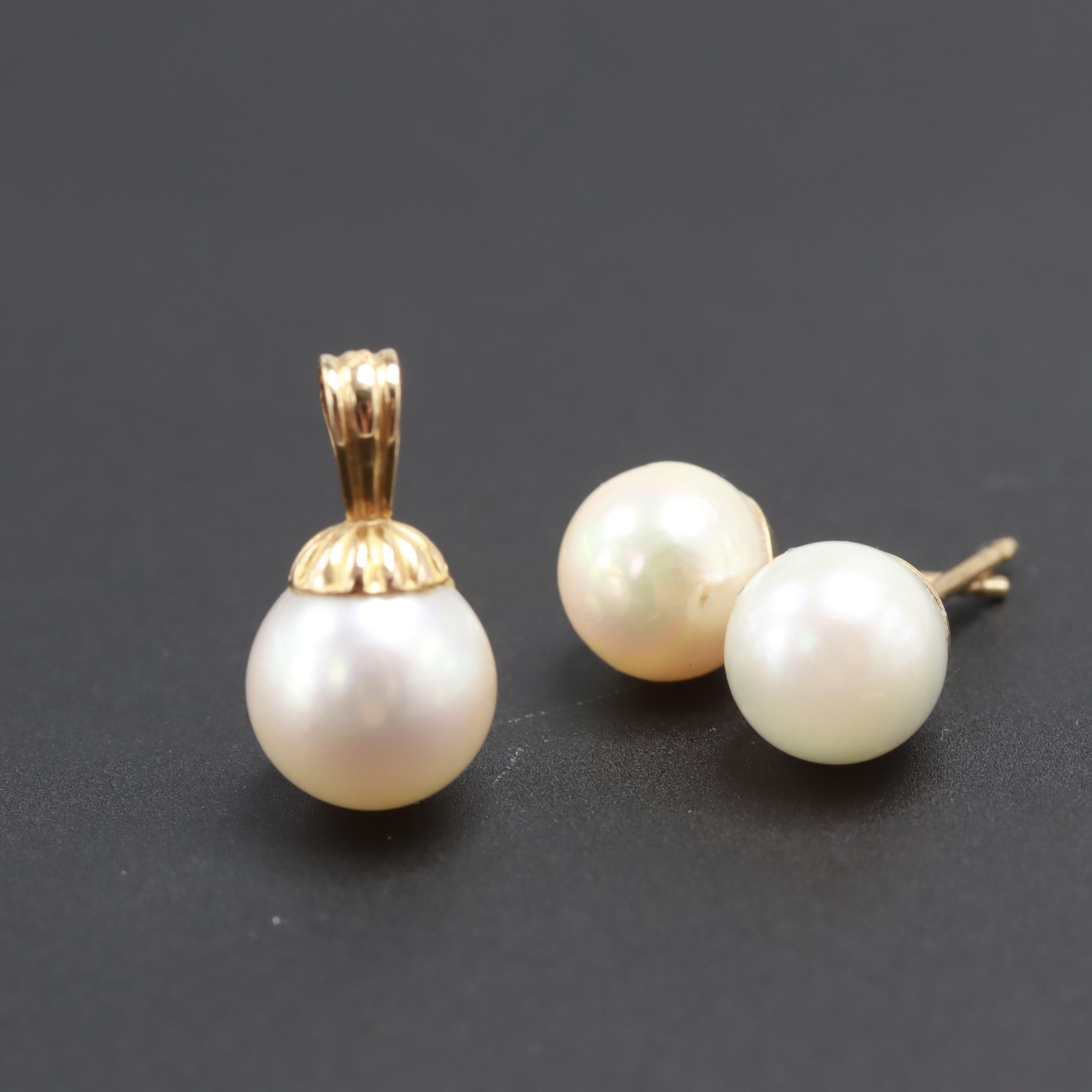 14K Yellow Gold Cultured Pearl Earrings and Pendant