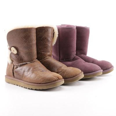 3e6e0ebe899 Women s UGG Australia Purple Sage Classic Short Boot and Tan Bailey Button  Boots
