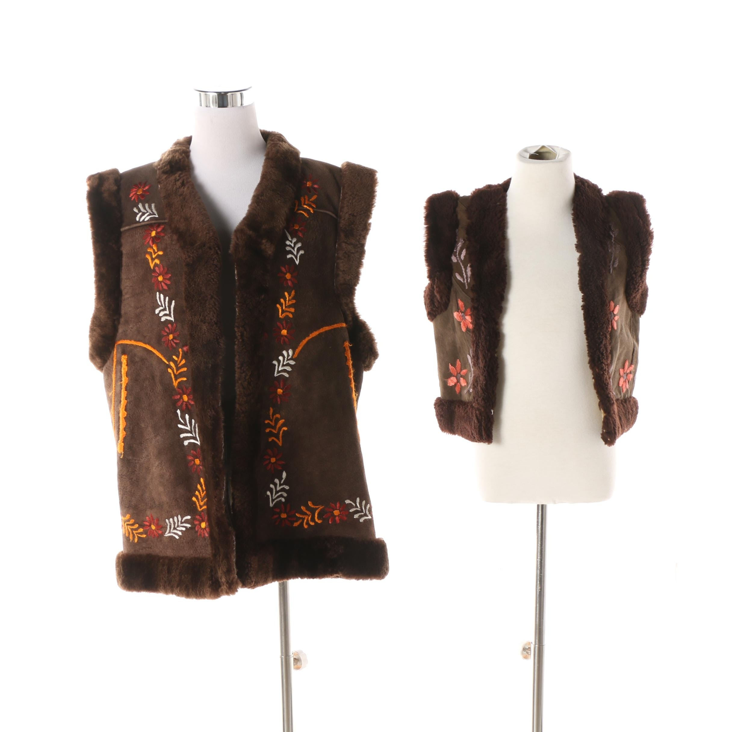 Unisex Adult and Children's Embroidered Brown Shearling Open Front Vests
