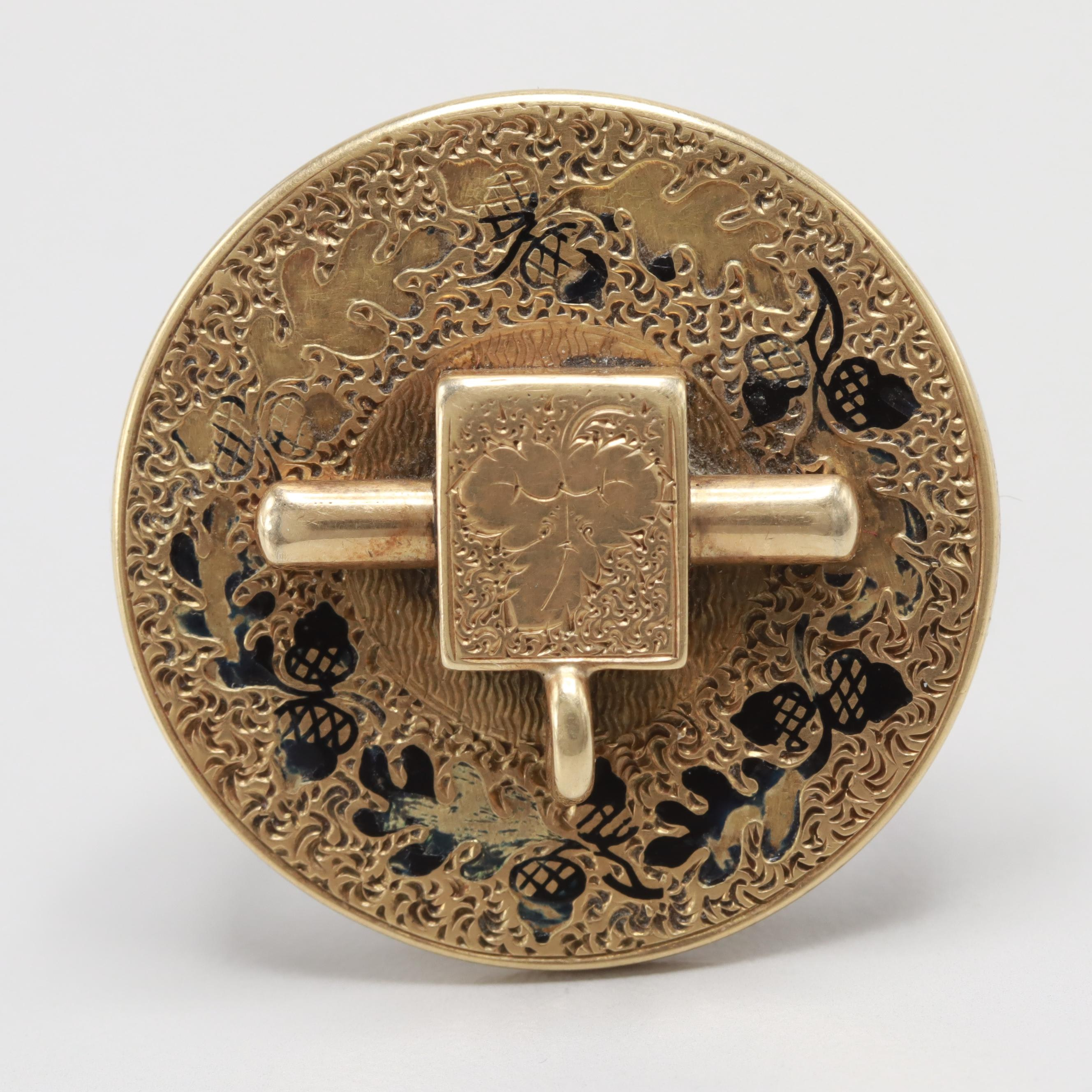 Victorian Taille d'Epargne Enamelled 14K Yellow Gold Brooch