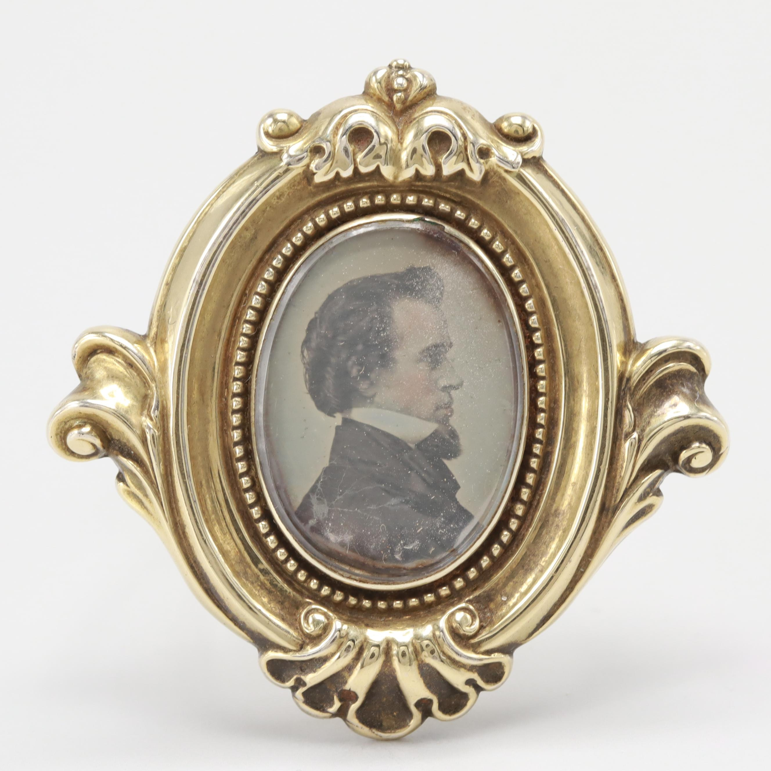 Victorian 14K Yellow Gold Brooch with Tintype Photograph Under Acrylic
