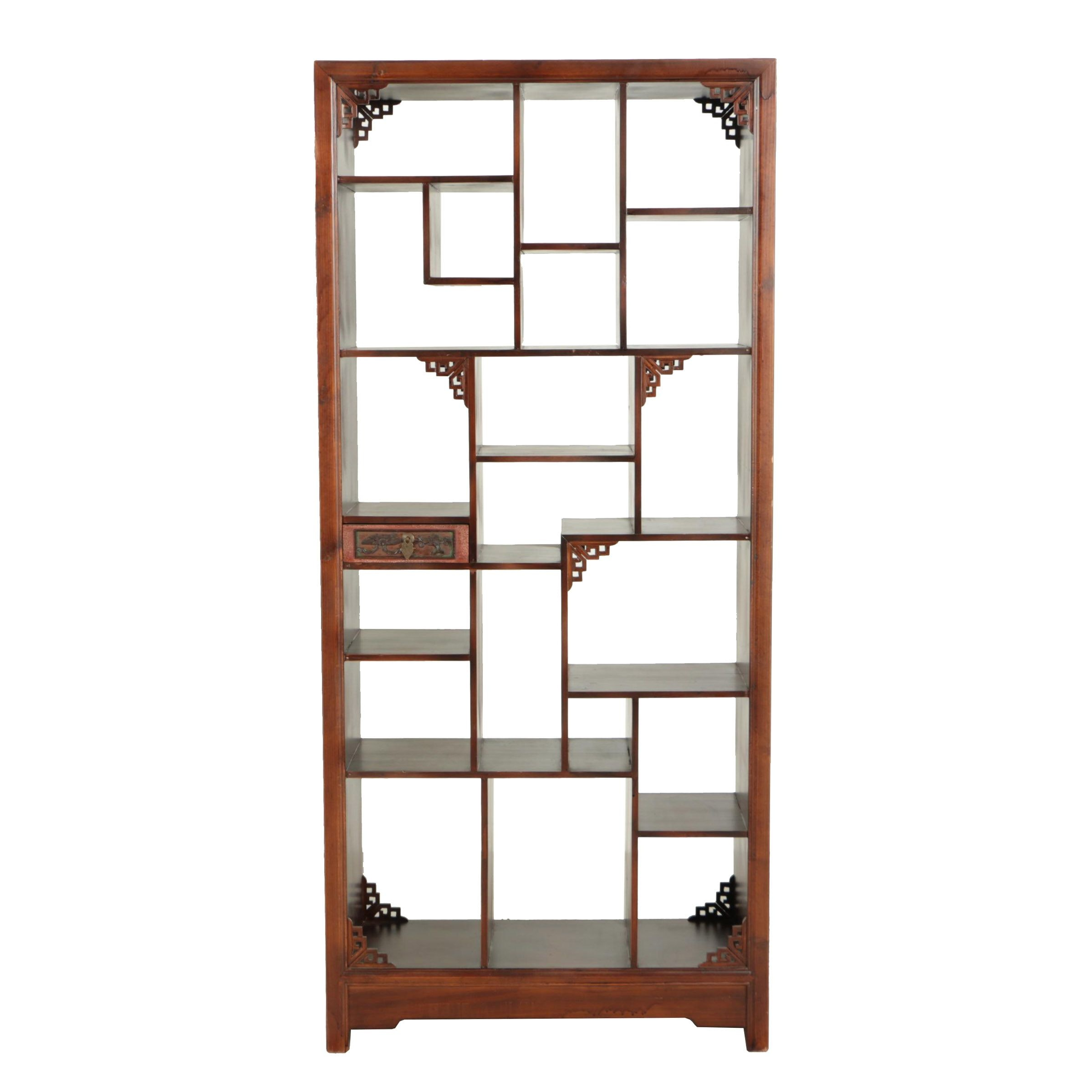 Chinese Wood Curio Bookcase, Mid 20th Century