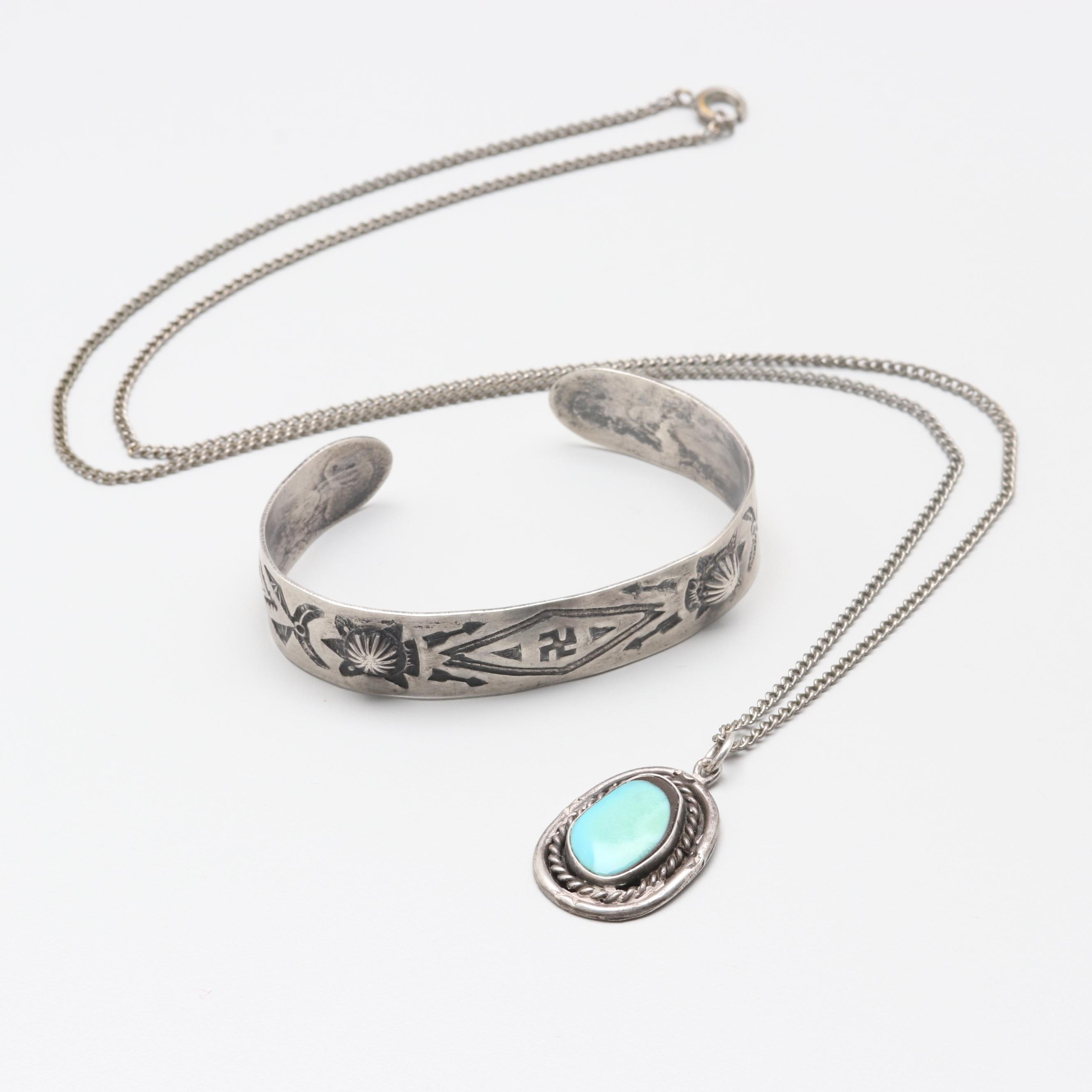 Sterling Silver Turquoise Pendant on Costume Chain and Sterling Silver Bracelet