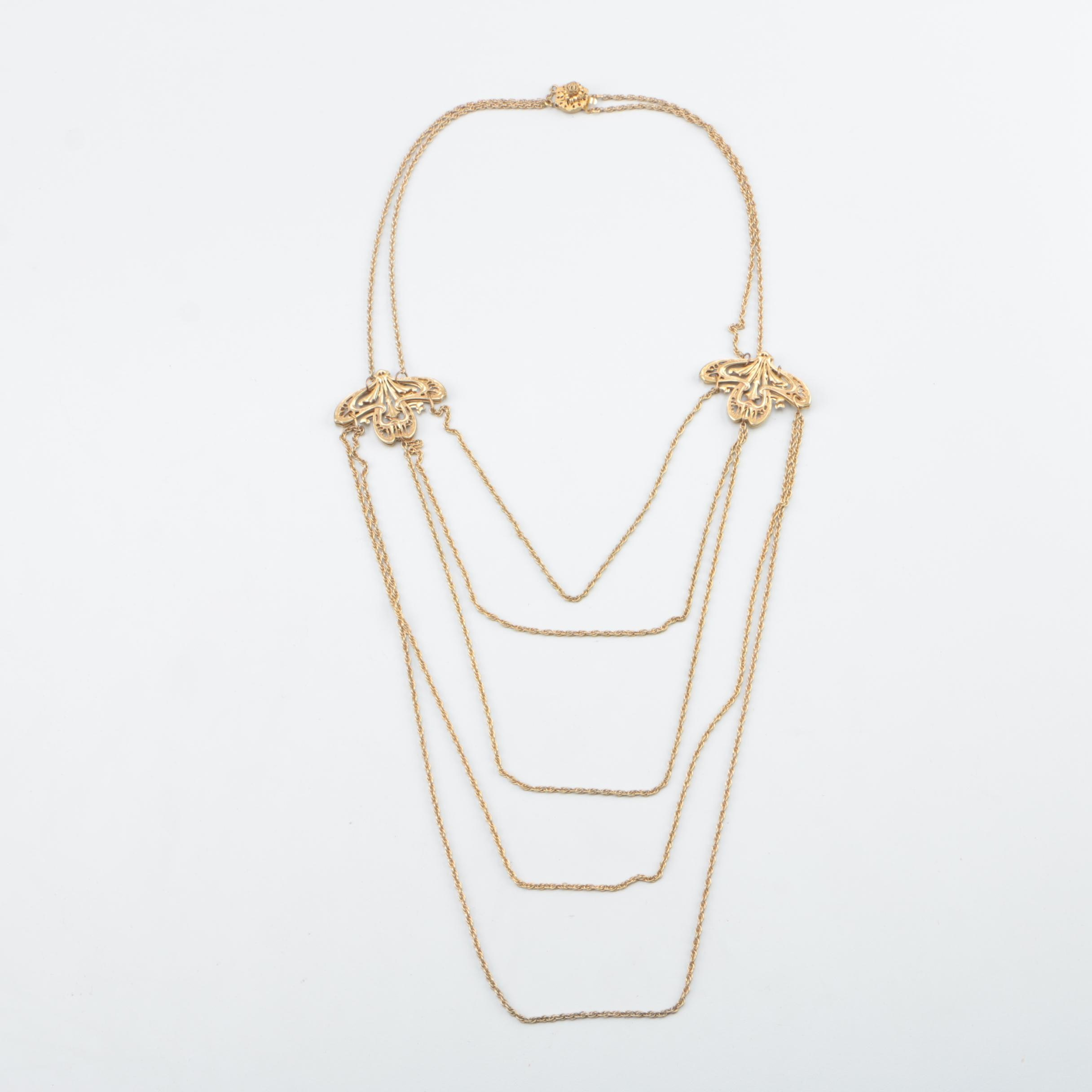 Miriam Haskell Gold Tone Multi Chain Necklace