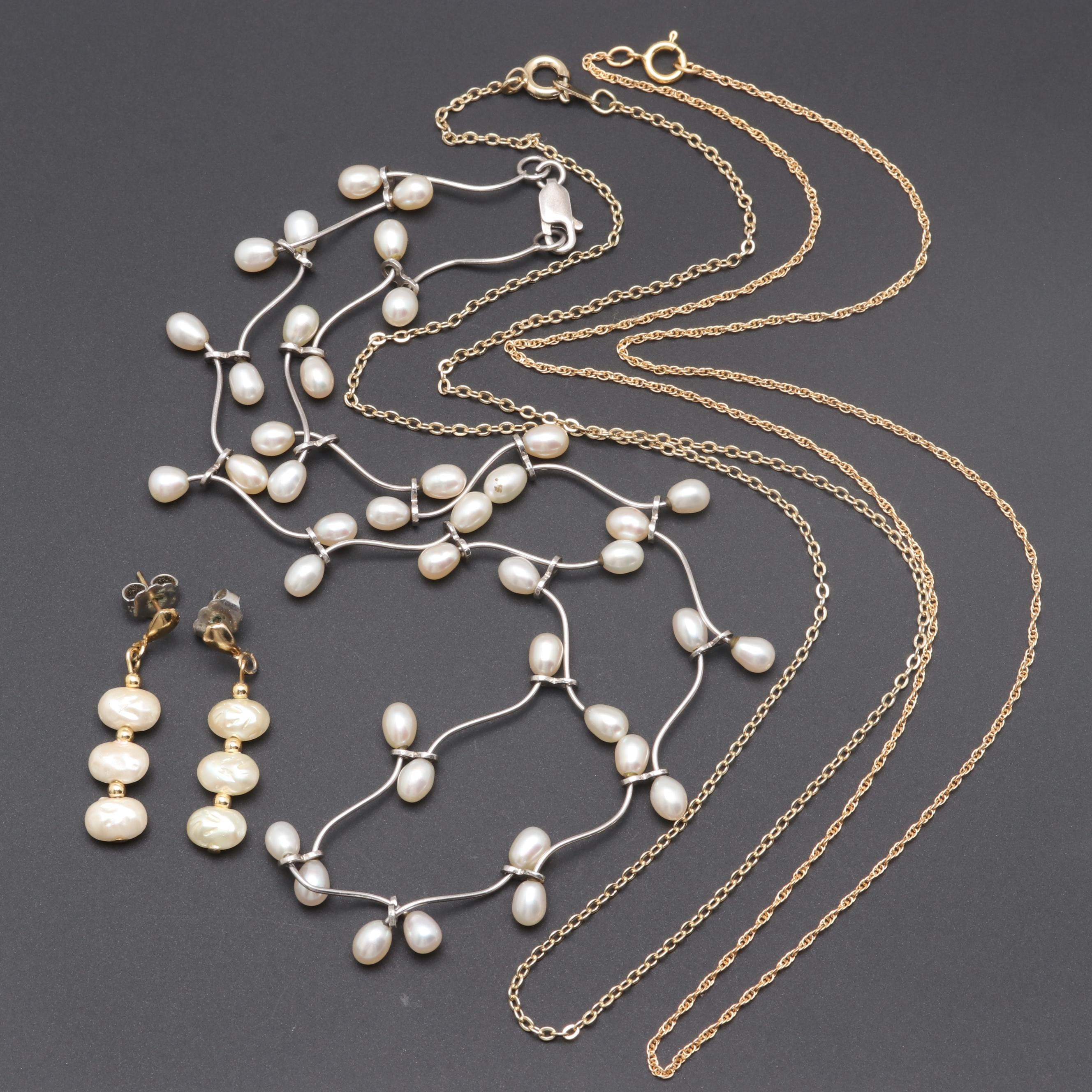 Costume Jewelry Assortment Including Sterling Silver and Cultured Pearl