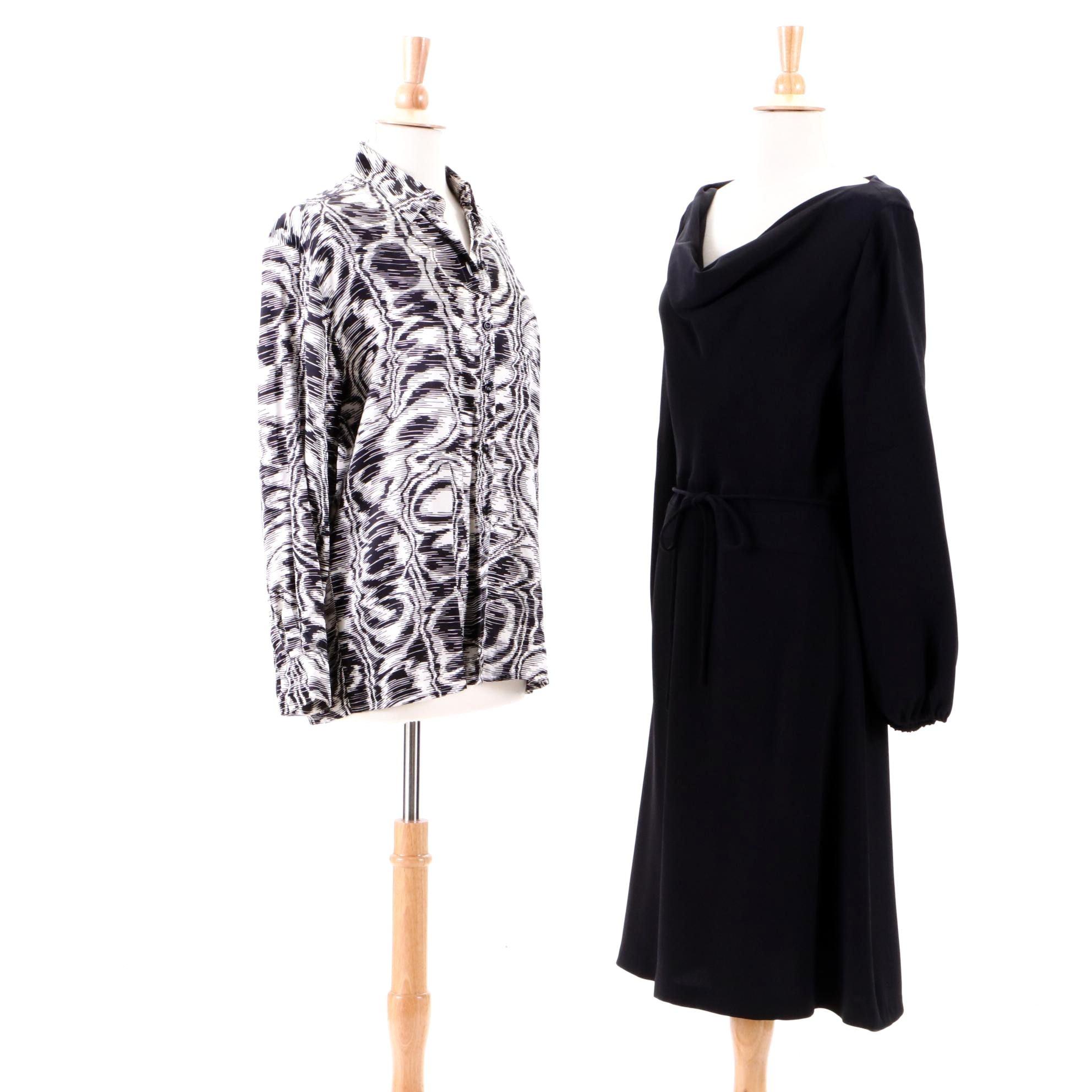 Escada Silk Blouse and Black Dress