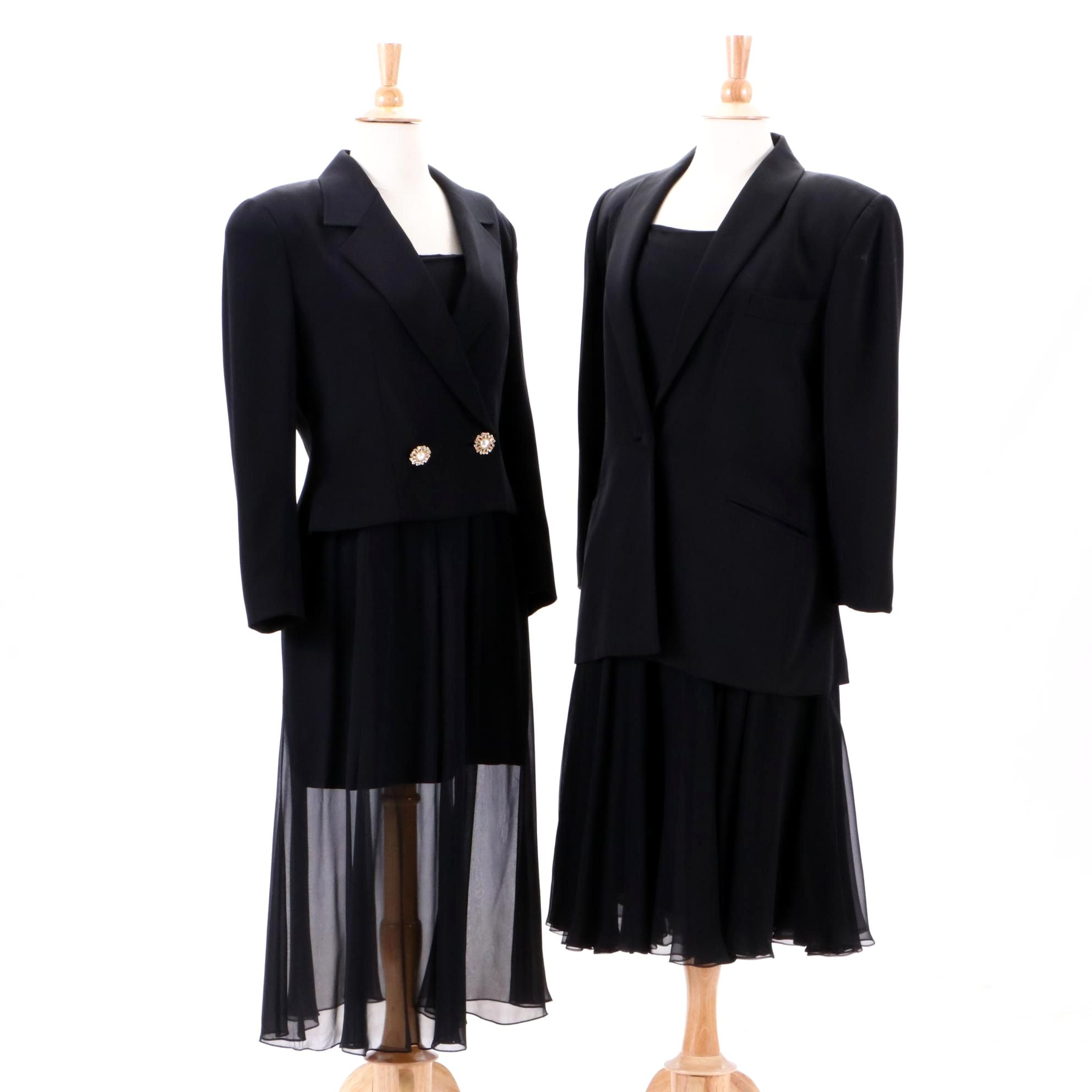 Vintage Henri Bendel Black Blazer and Black Silk Sleeveless Cocktail Dresses