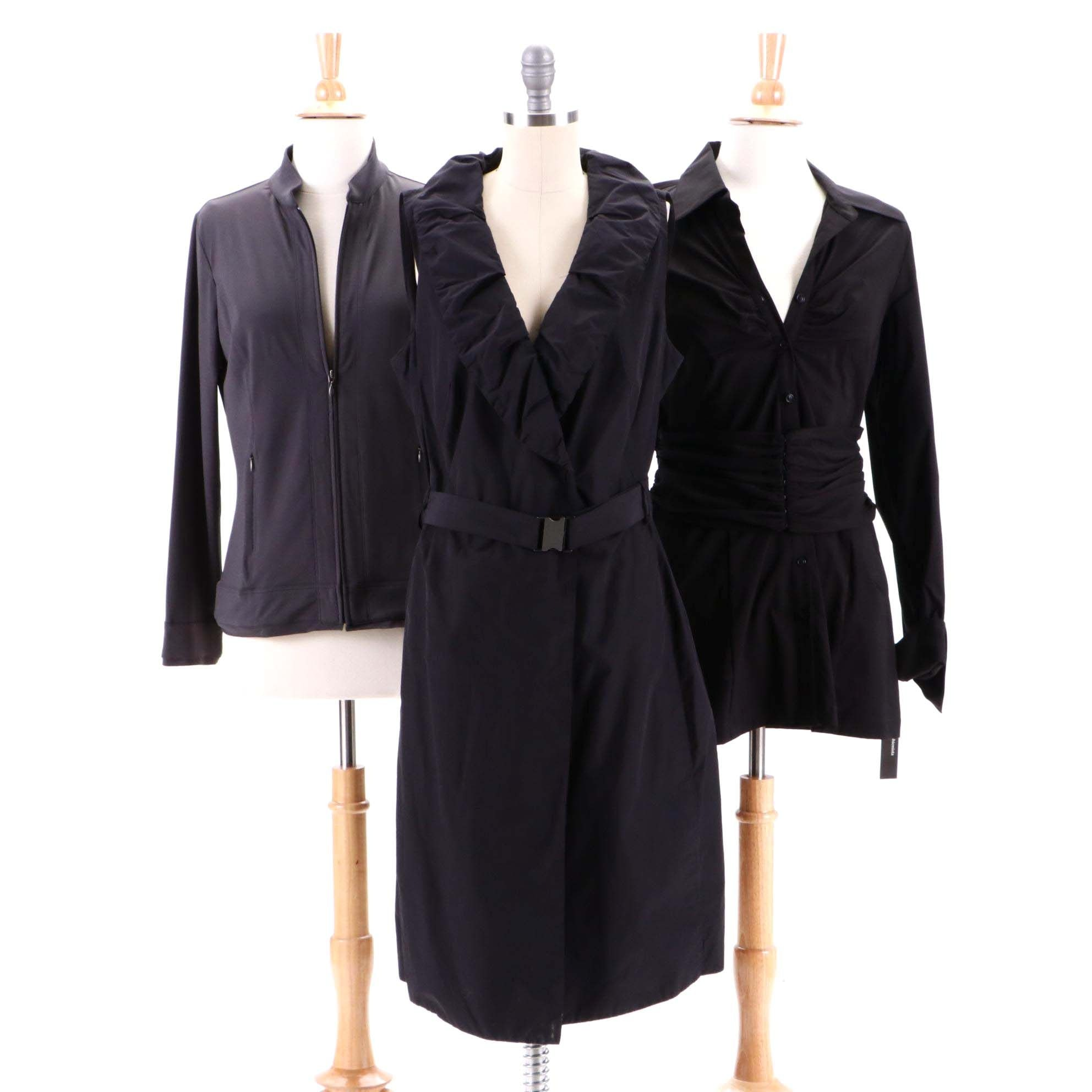 A-K-R-I-S Punto Dress, Cabi Zipper-Front Jacket and Fashionista Ruched Shirt