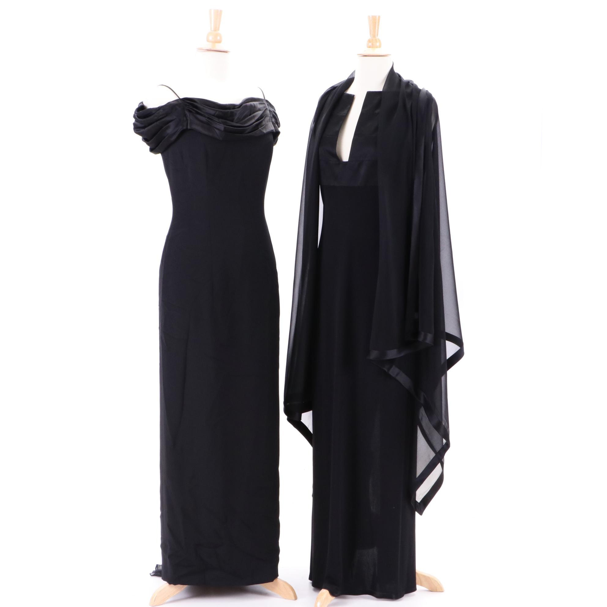 Women's Black Silk Evening Gowns Including Westcott with Matching Shawl