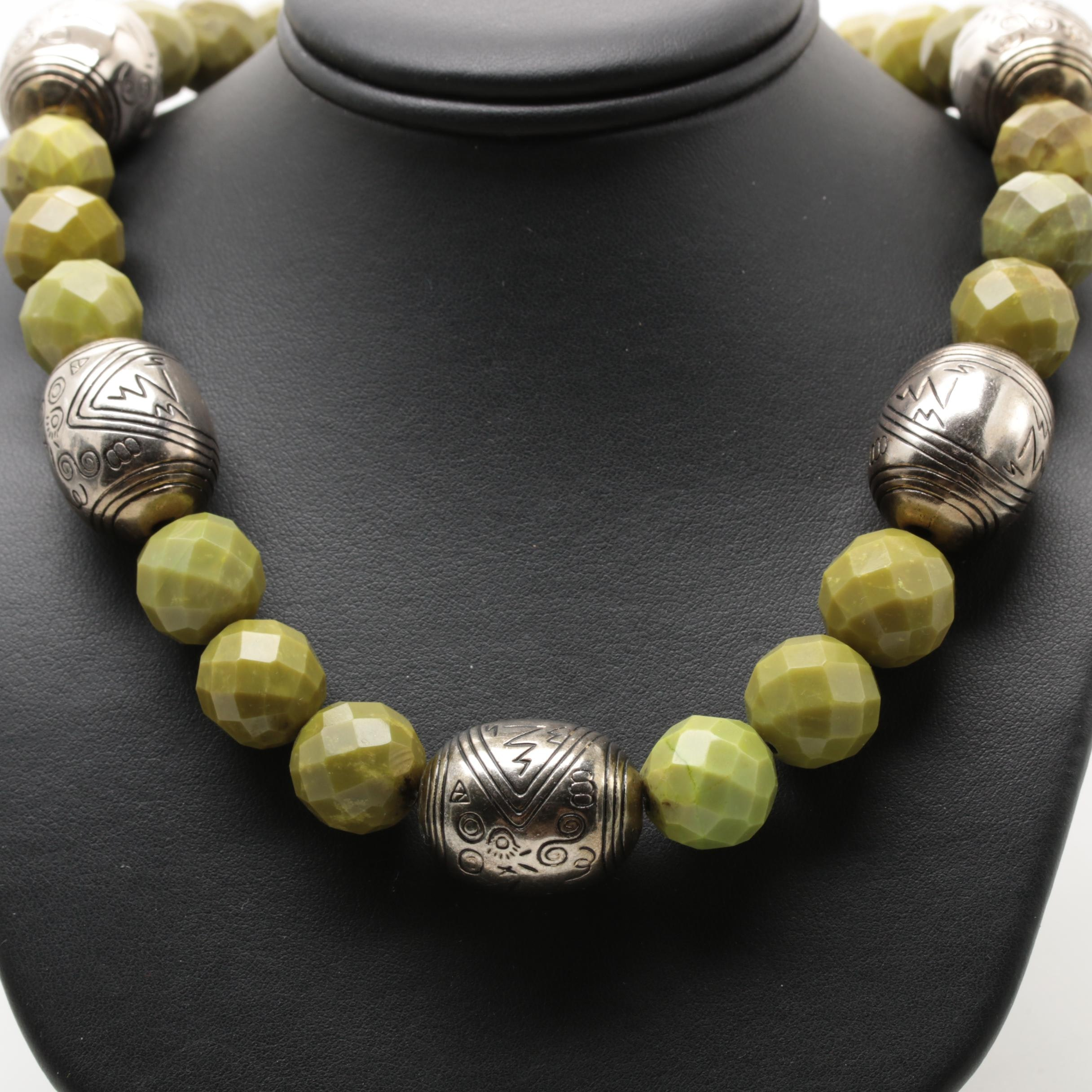 10K Yellow Gold Serpentine Necklace with Silver Tone Beads