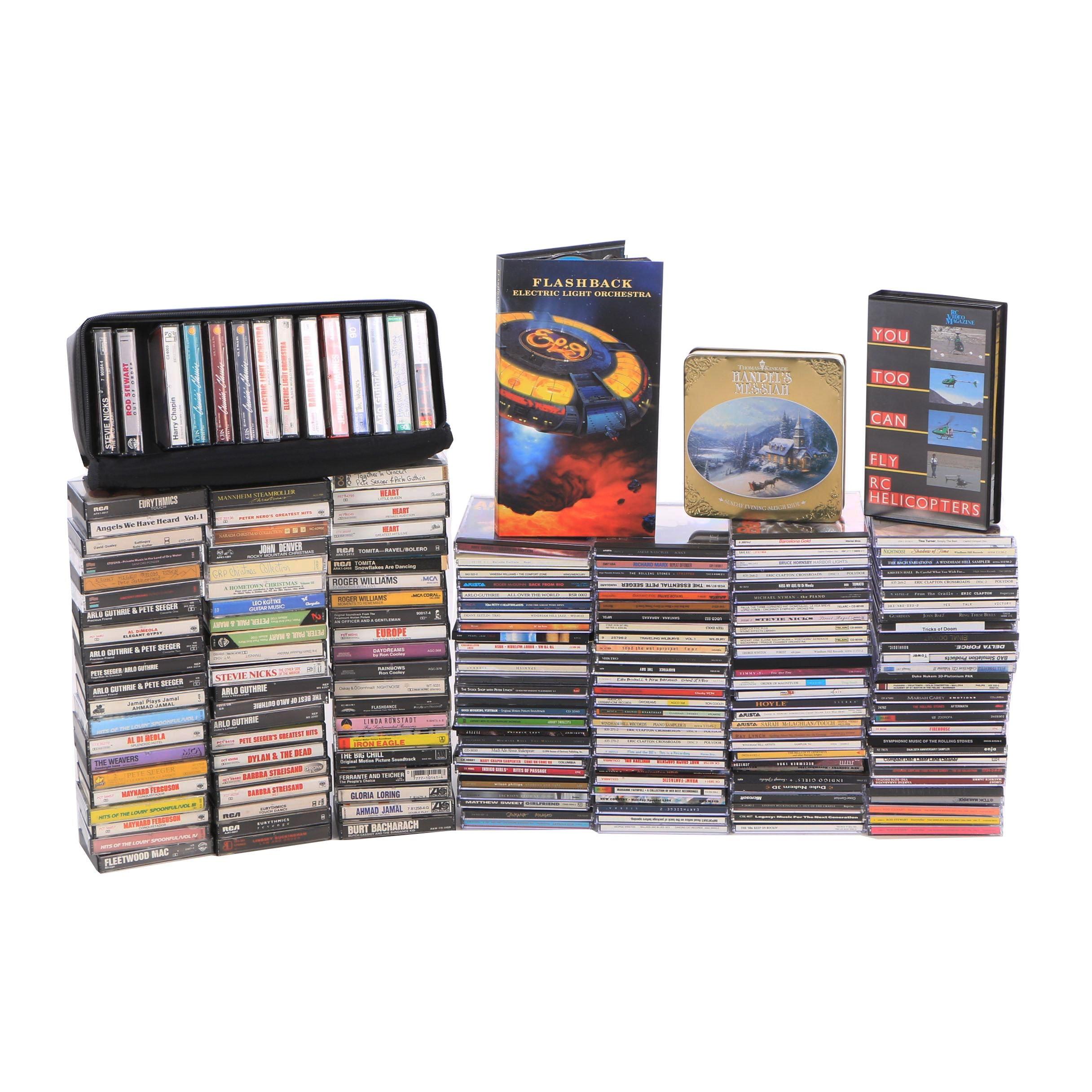 """ELO """"Flashback"""" CD Boxed Set with Other Vintage CDs and Cassettes"""