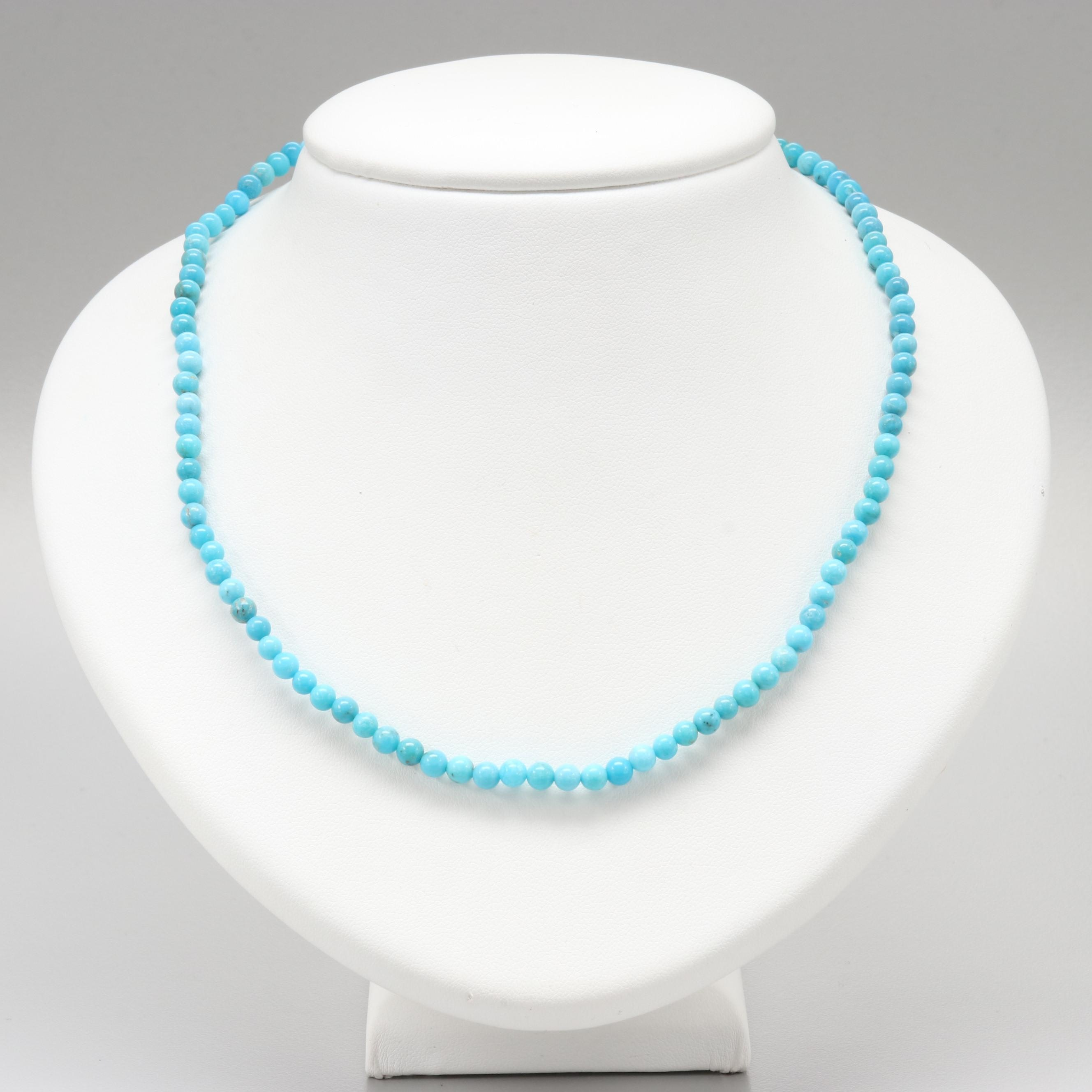10K and 14K Yellow Gold Turquoise Necklace