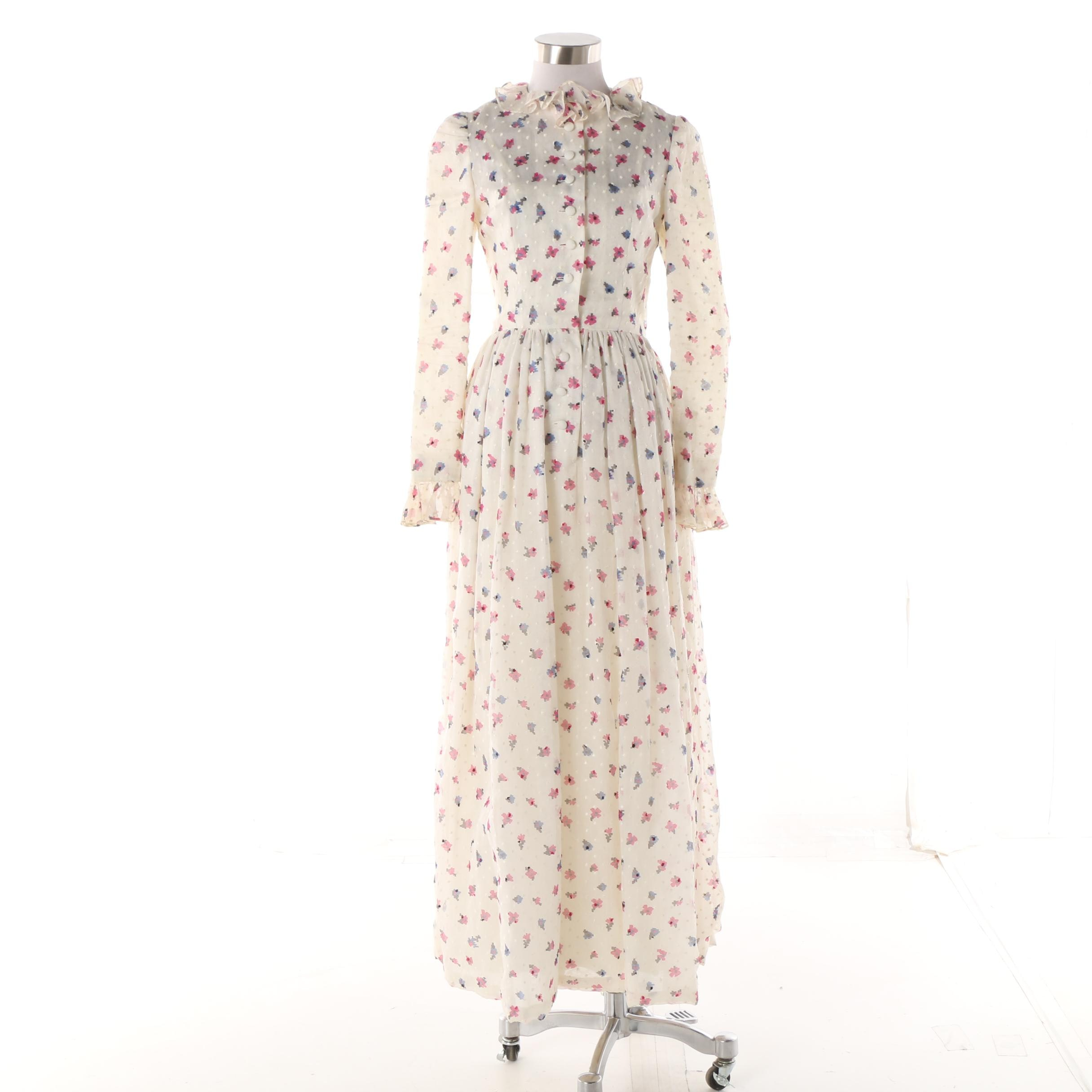 Gérard Pipart Nina Ricci for Bonwit Teller Swiss Dot Floral Maxi Dress