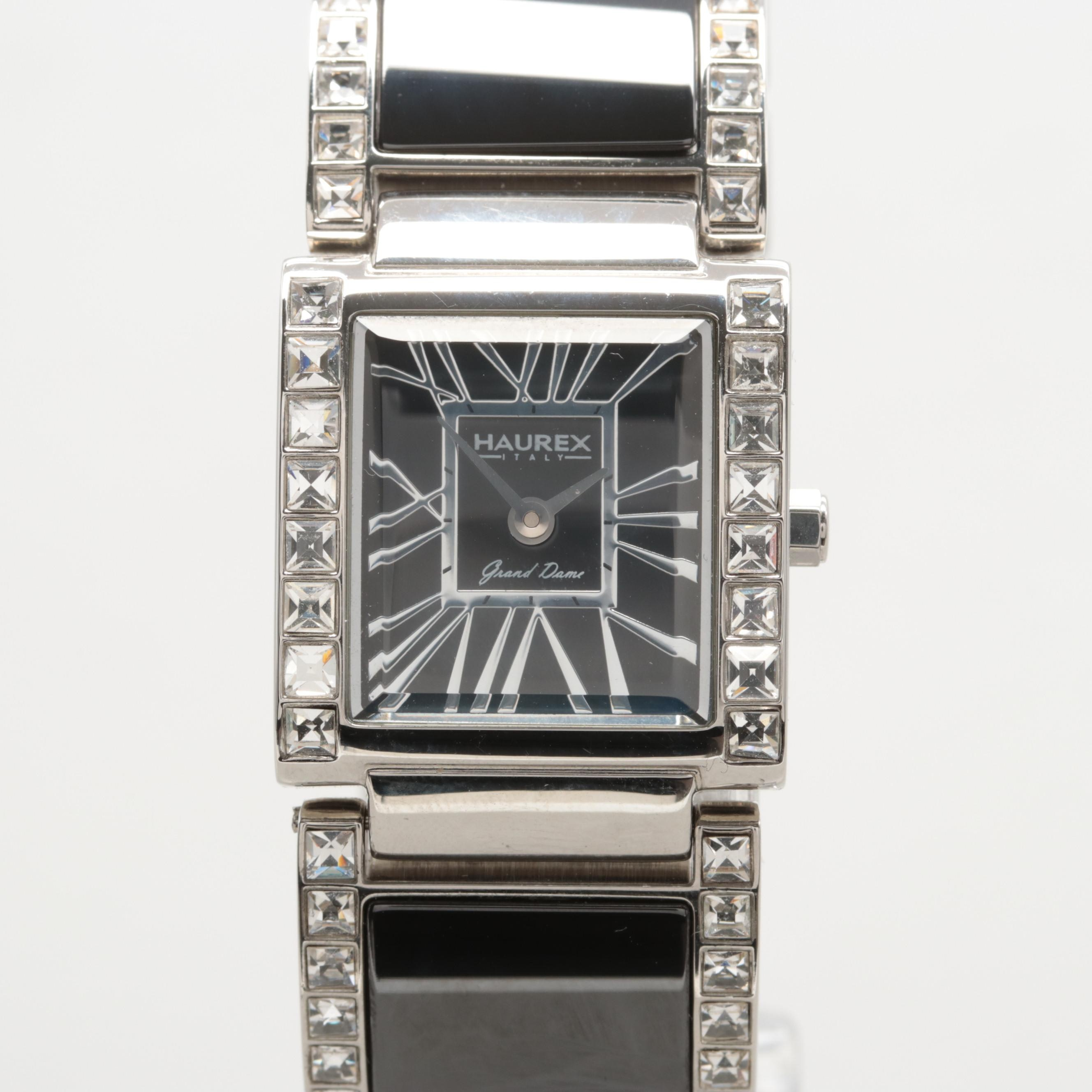 Haurex Stainless Steel Glass Crystal Quartz Wristwatch