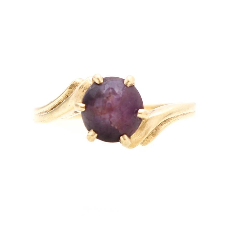 14K Yellow Gold Star Ruby Ring